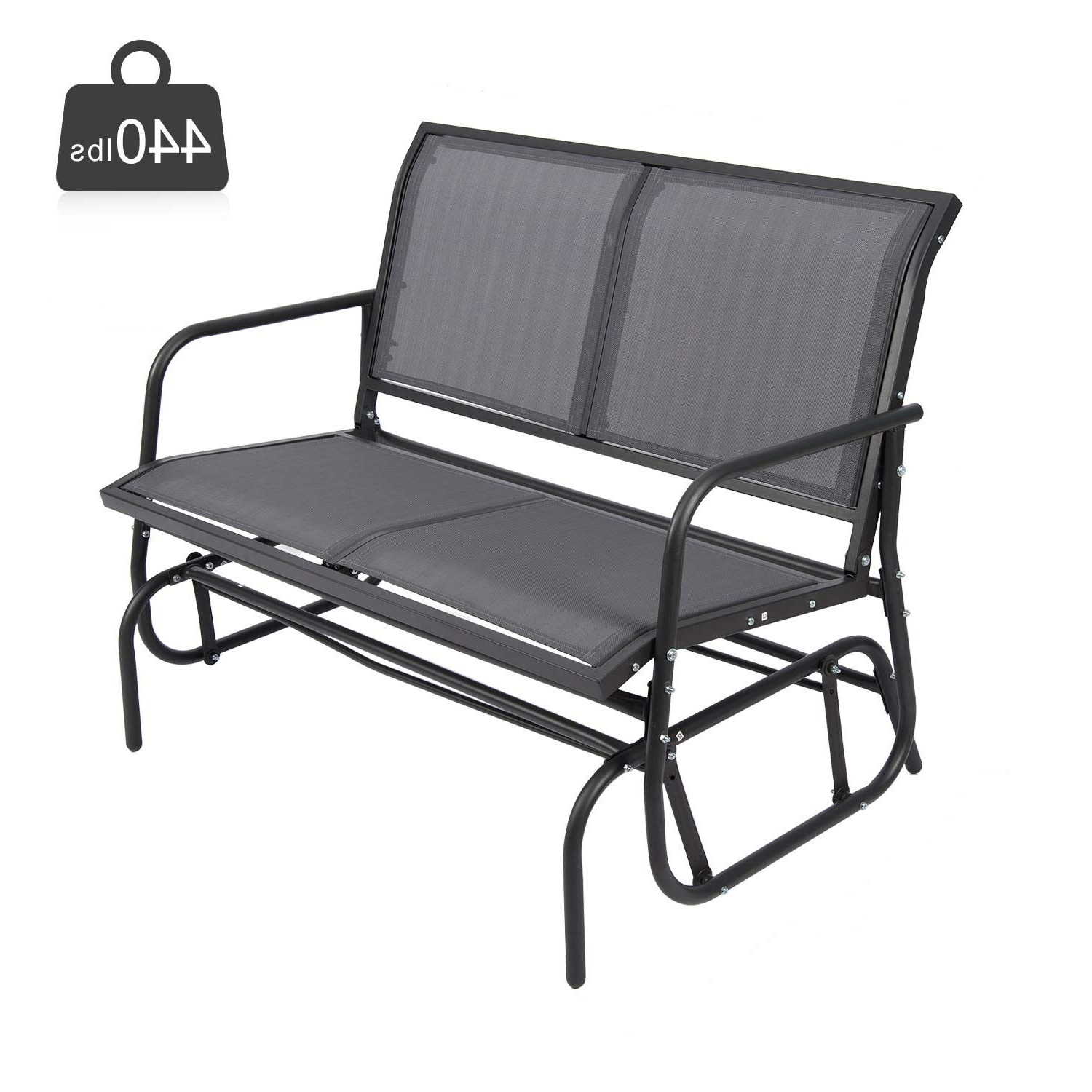 Trendy 2 Person Gray Steel Outdoor Swings For Amazon: Fullwatt Outdoor Swing Glider Chair, Patio Bench (View 5 of 30)
