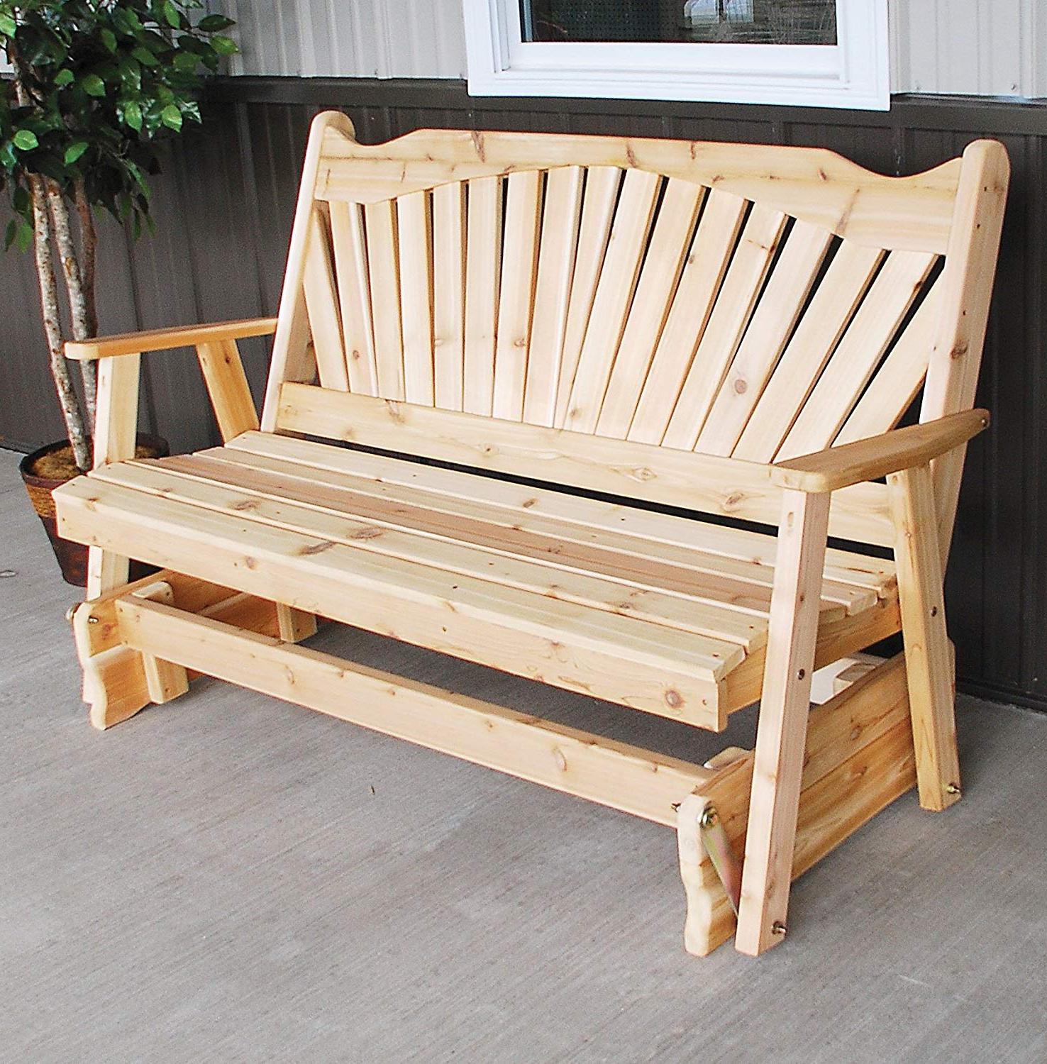 Trendy 2 Person Natural Cedar Wood Outdoor Gliders Regarding Cedar Porch Glider Bench Outdoor Patio Gliding Bench, 2 Person Wooden  Loveseat Benches, Amish Made Furniture Weather Resistant Western Red Cedar  Wood, (Gallery 2 of 30)