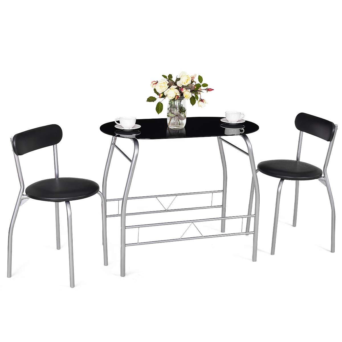 Trendy 3 Pieces Dining Tables And Chair Set With Tangkula 3 Piece Dining Set Modern Metal Frame Glass Top Table And 2 Chairs  Set Home Kitchen Bistro Pub Breakfast Furniture, Black And Silver (View 25 of 30)