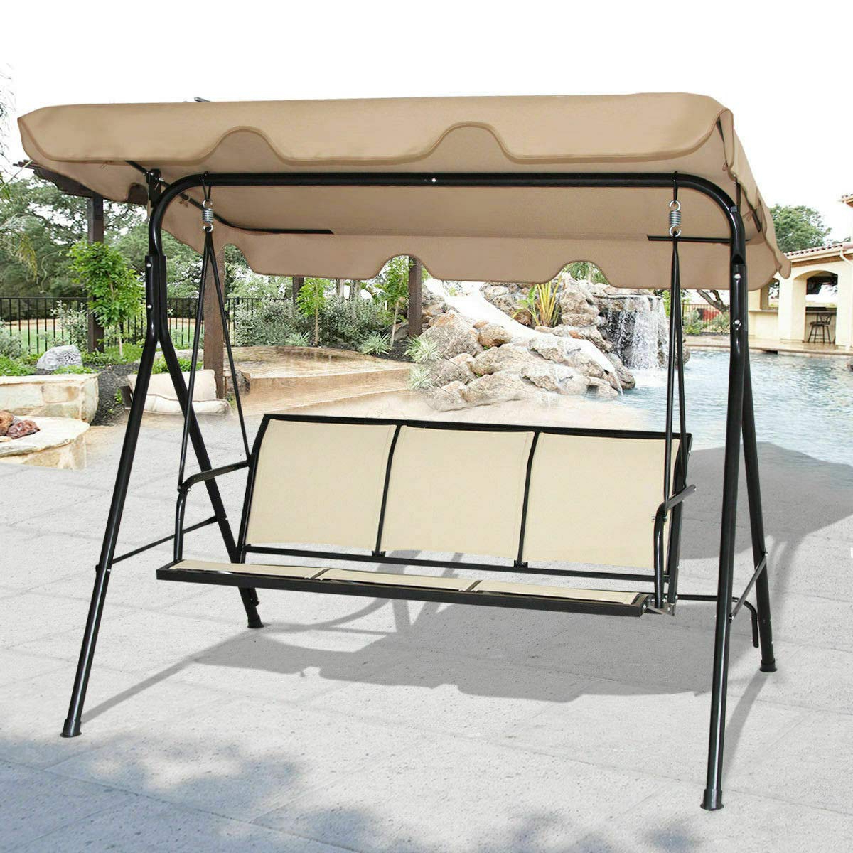 Trendy 3 Seat Pergola Swings With Amazon: 3 Seat Canopy Swing Chair Patio Hammock Outdoor (View 19 of 30)