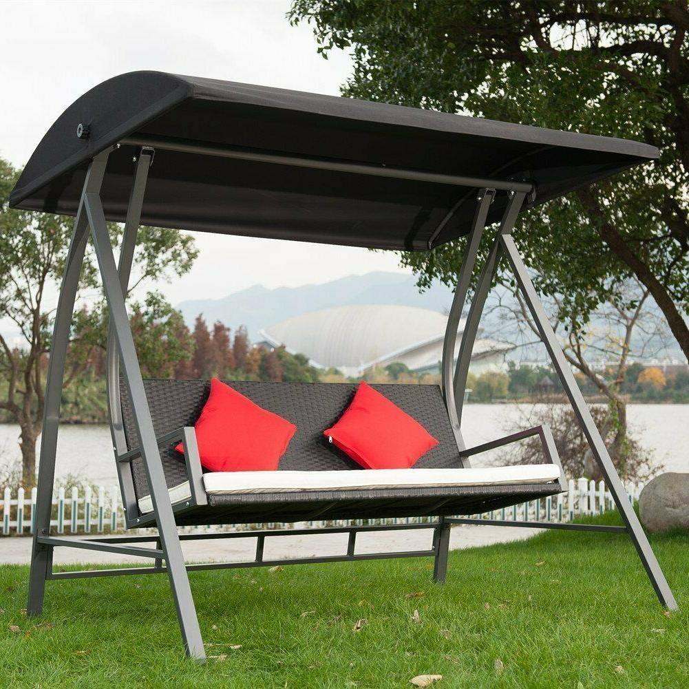 Trendy 3 Seats Patio Canopy Swing Gliders Hammock Cushioned Steel Frame Inside Modern Swing Outdoor Lounge Chair 3 Seats Garden Patio Pe Wicker Glider  Bench (Gallery 26 of 30)