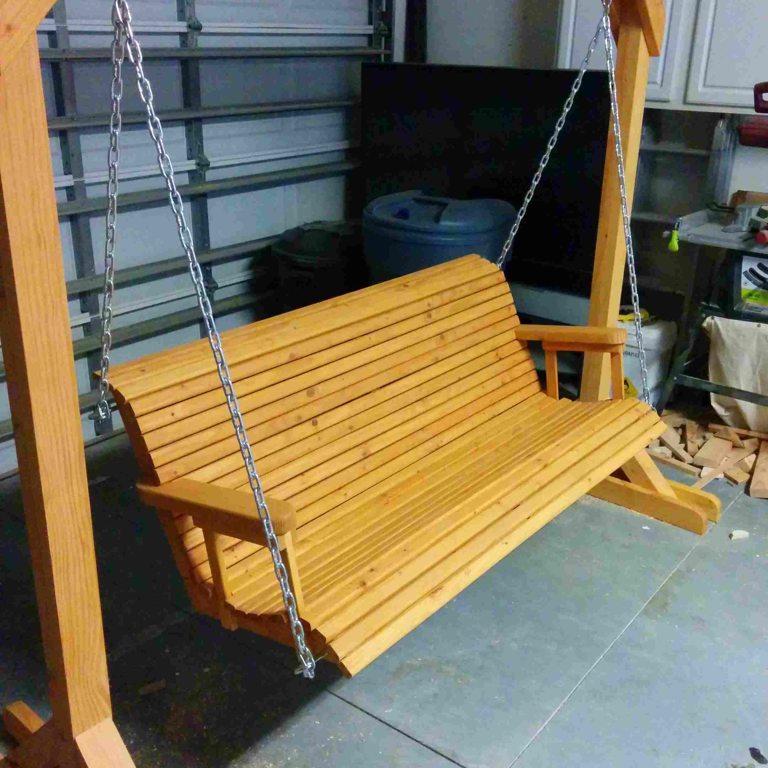 Trendy A4 Ft Cedar Pergola Swings Within 12 Free Porch Swing Plans To Build At Home (Gallery 23 of 30)
