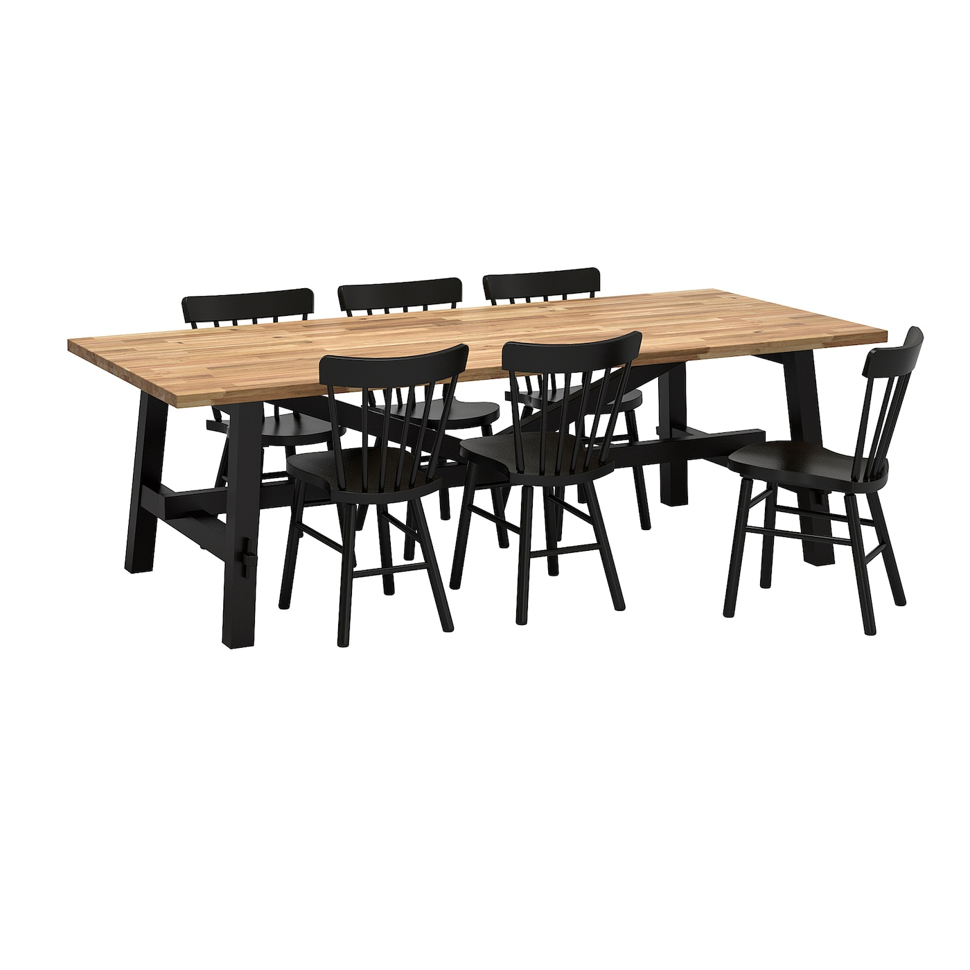 Trendy Acacia Dining Tables With Black Legs Throughout Table And 6 Chairs Skogsta / Norraryd Acacia, Black (View 25 of 30)