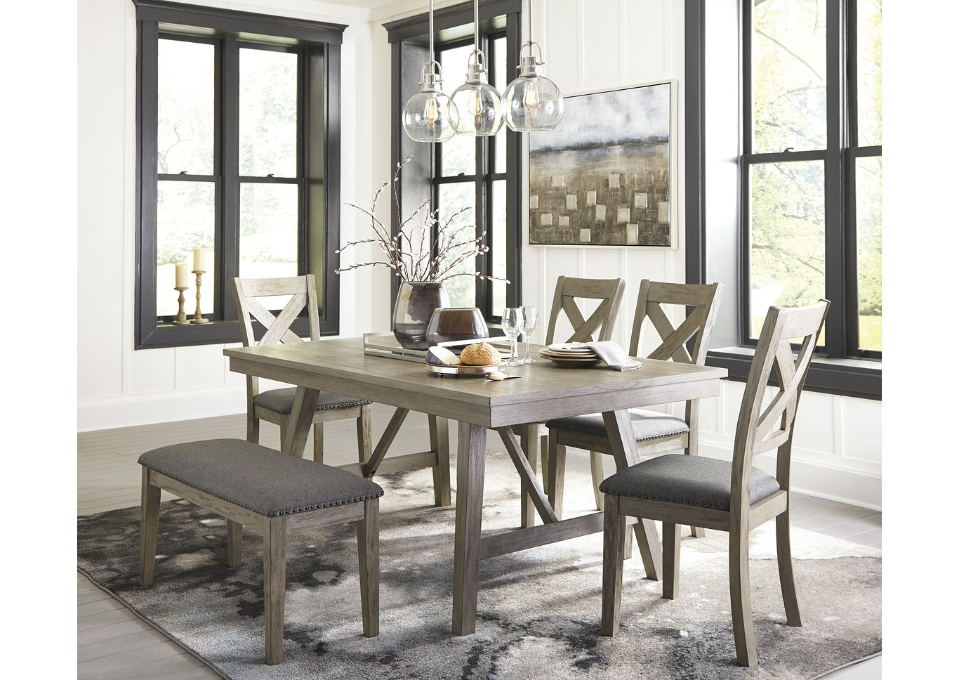 Trendy Coaster Contemporary 6 Seating Rectangular Casual Dining Tables Regarding Johnson's Furniture Aldwin Gray Dining Table W/4 Side Chairs (View 27 of 30)