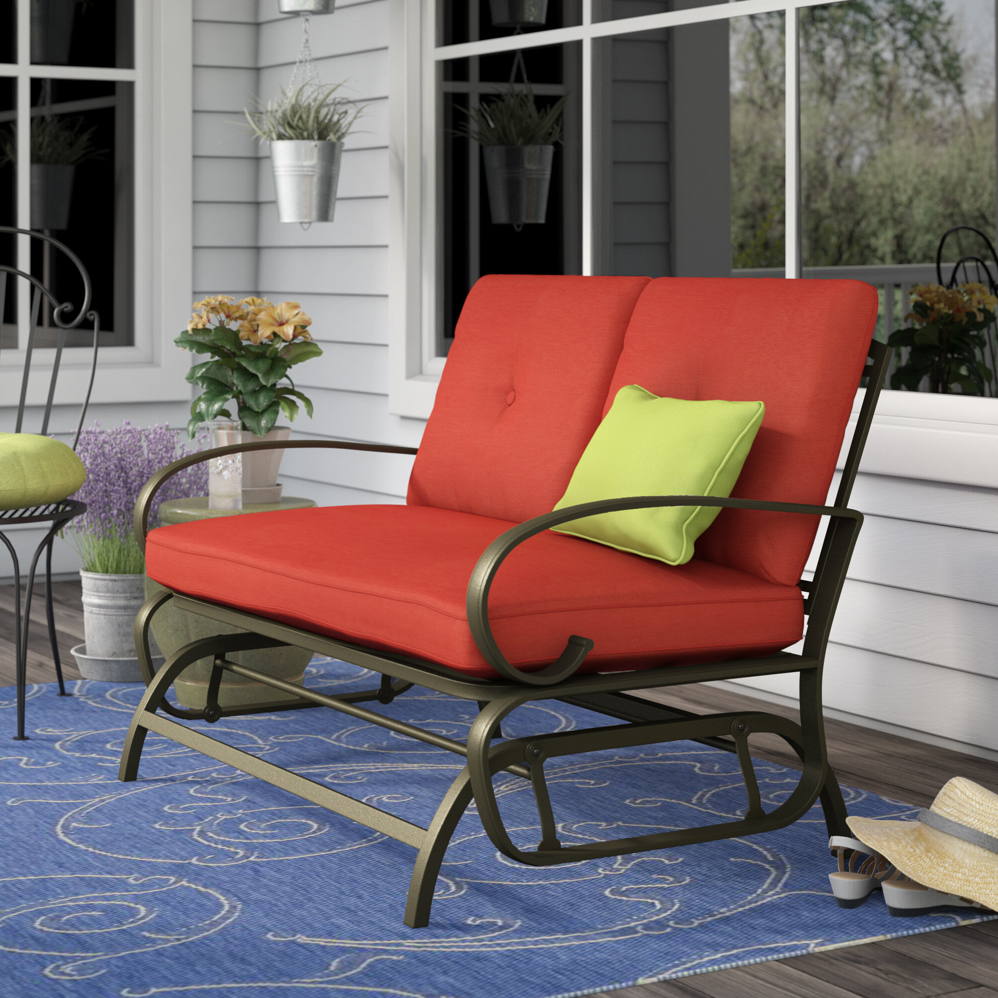 Trendy Courtois Outdoor Glider Bench With Cushions With Glider Benches With Cushions (Gallery 12 of 30)