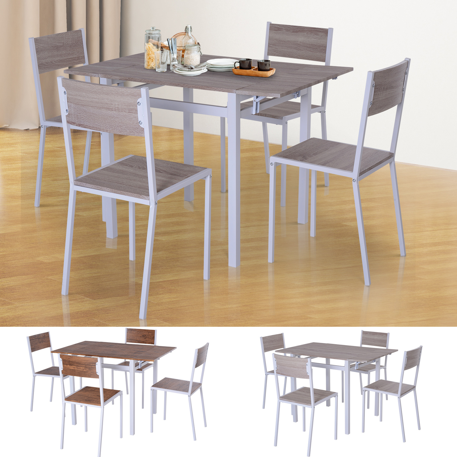 Trendy Details About 5 Pc Extending Drop Leaf Counter Height Dining Set Table & 4  Chairs Kitchen Throughout Wood Kitchen Dining Tables With Removable Center Leaf (Gallery 23 of 30)