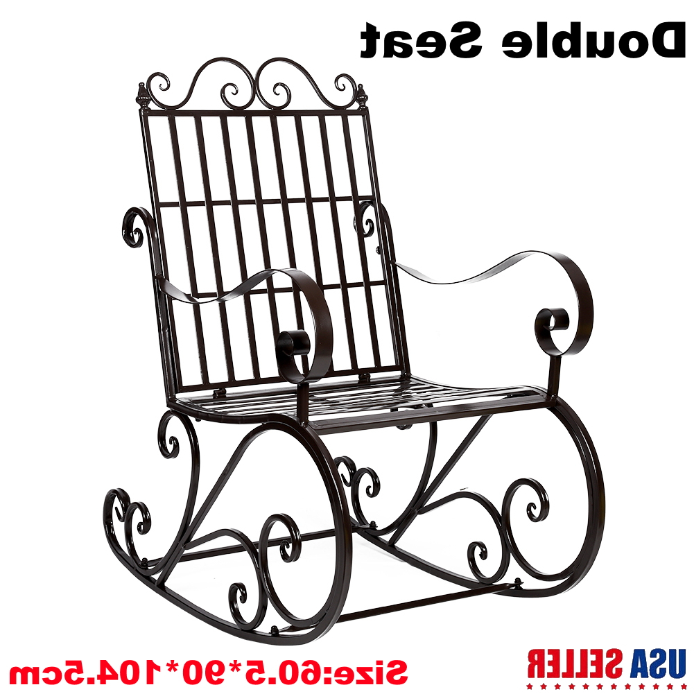 Trendy Details About Patio Garden Glider 2 Person Swing Bench Rocking Chair Porch  Outdoor Furniture Inside Classic Glider Benches (Gallery 22 of 30)