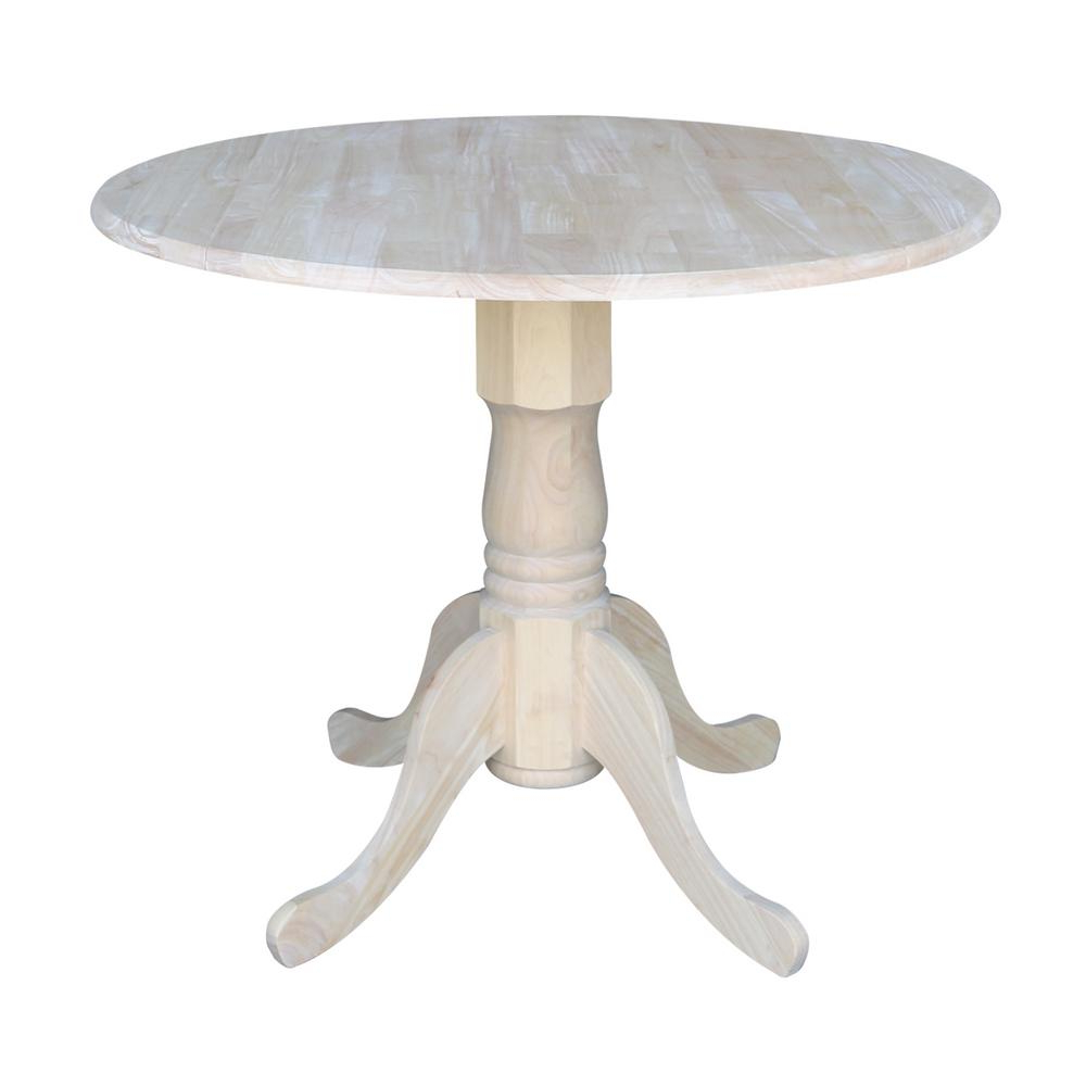 Trendy Details About Unfinished Wood Dining Table Round Pedestal Kitchen Vintage  Small Dual Drop Leaf Pertaining To Transitional Antique Walnut Drop Leaf Casual Dining Tables (View 25 of 30)