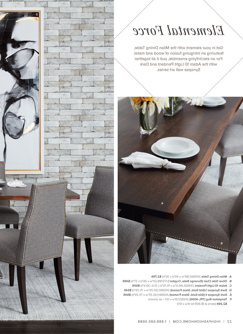 Trendy Dining Tables In Smoked/seared Oak With High Fashion Home – Catalog Spring 2016 – Milan Dining Table (Gallery 20 of 30)