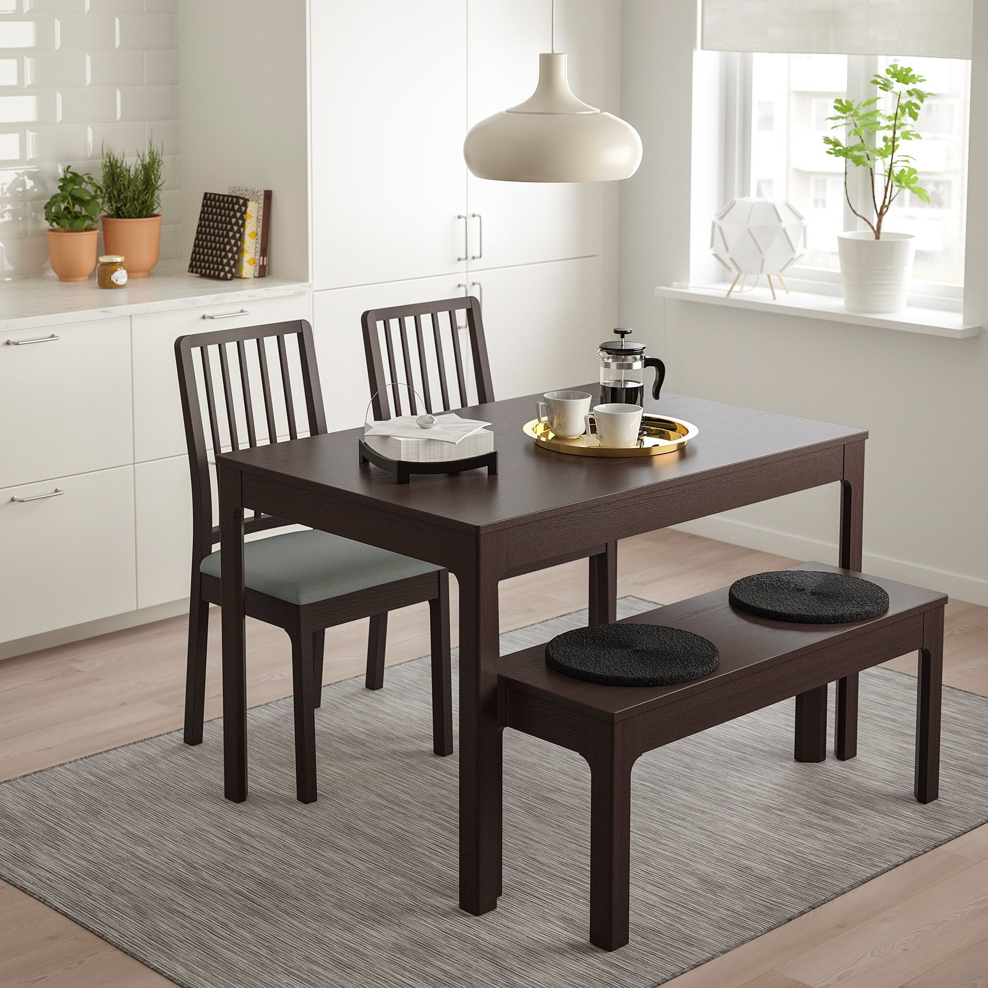 Trendy Ekedalen Table Set With Bench In Rustic Pine Small Dining Tables (Gallery 16 of 30)