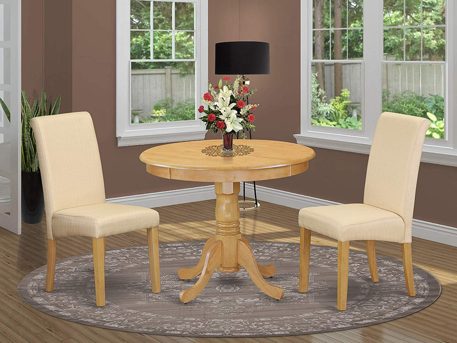 Trendy Elegance Small Round Dining Tables For Amazon: Anba3 Oak 02 3Pc Small Round Table With Linen (Gallery 23 of 30)