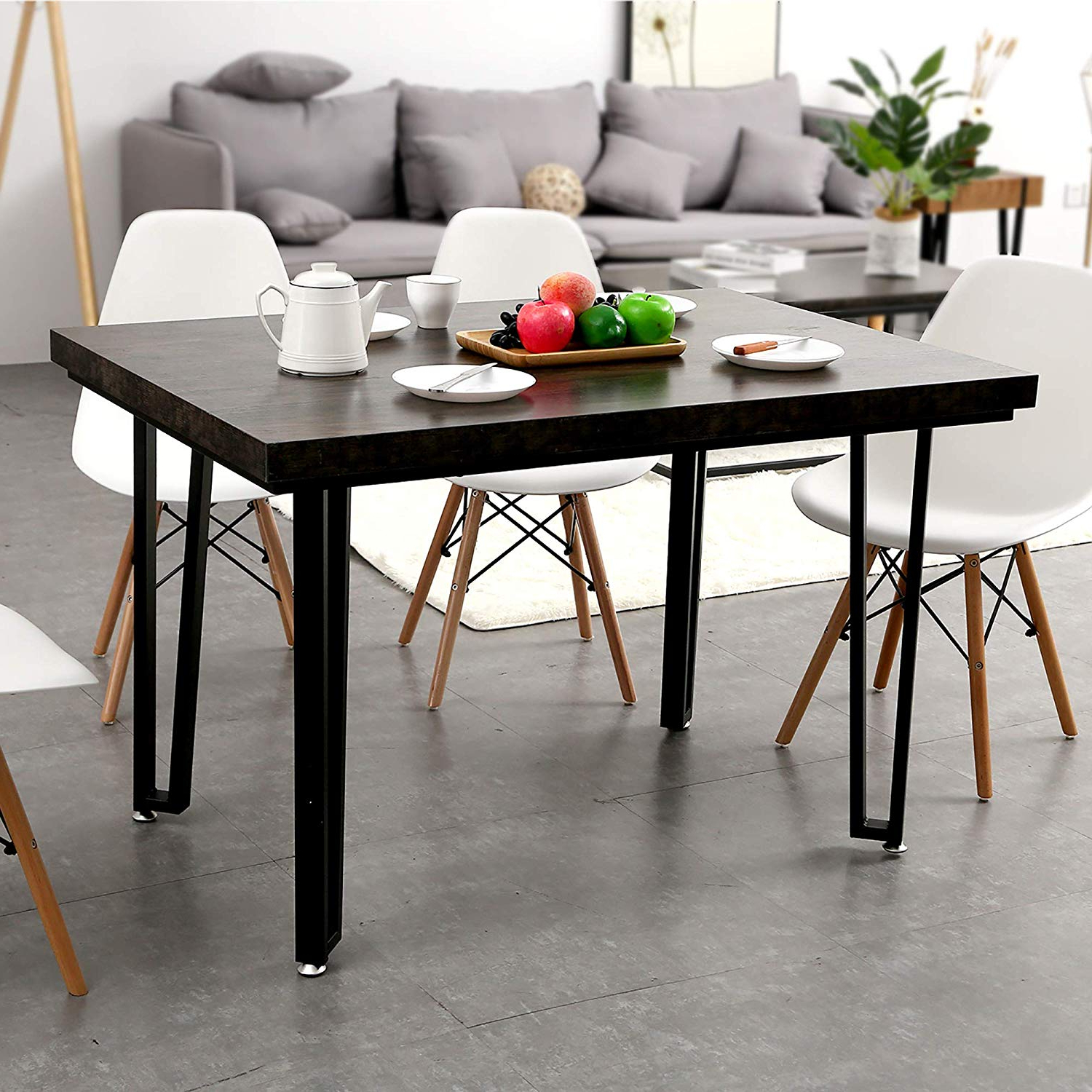 "Trendy Frosted Glass Modern Dining Tables With Grey Finish Metal Tapered Legs Within Ivinta Alacrity 47.2"" Rustic Modern Farmhouse Matte Black Metal Rectangle  Kitchen And Dining Room Table Mid Century Industrial (Gallery 5 of 30)"