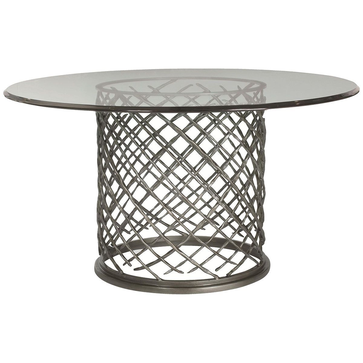 "Trendy Glass Top Condo Dining Tables With Bernhardt Interiors Hallam 54"" Metal Dining Table With Glass (View 27 of 30)"