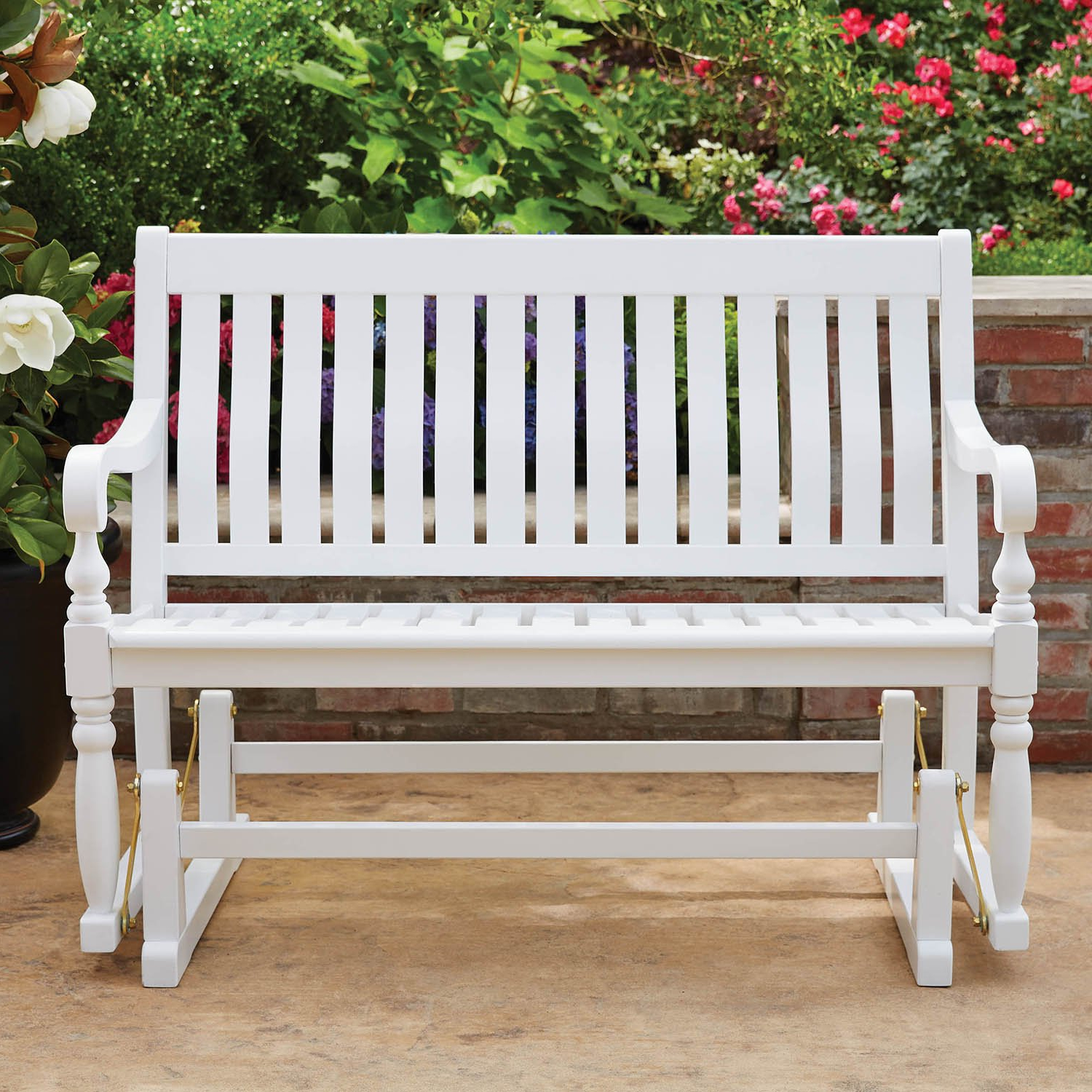 Trendy Hardwood Porch Glider Benches Regarding Details About Painted Wood Glider Bench (White) Country Farmhouse Shabby Chic 4 Feet Long Ft (View 29 of 30)