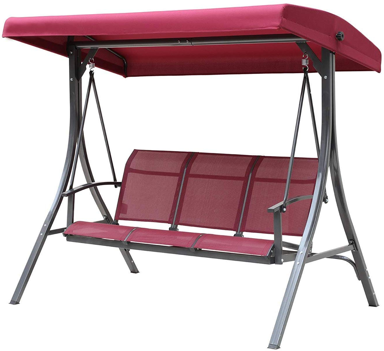 Trendy Kozyard Brenda 3 Person Outdoor Patio Swing With Strong Weather Resistant  Powder Coated Steel Frame And Textilence Seats(Red) With Regard To 3 Person Red With Brown Powder Coated Frame Steel Outdoor Swings (Gallery 3 of 30)