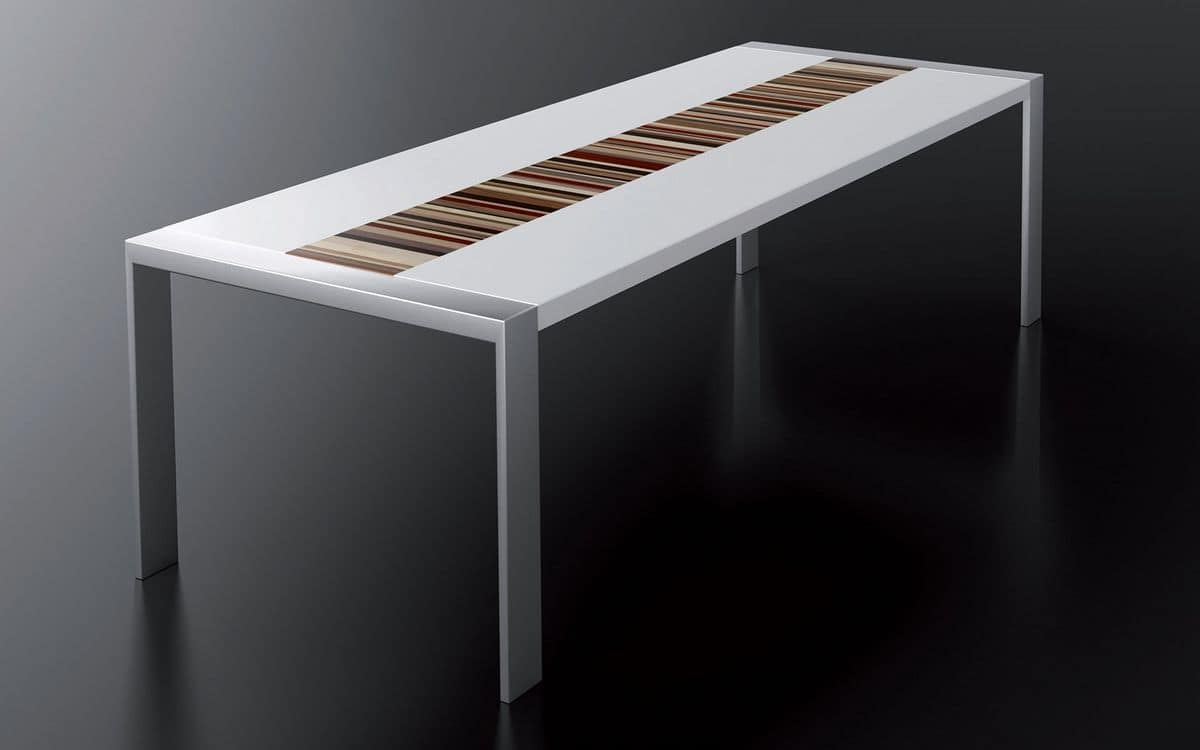 Trendy Lacquered White Table, Brushed Steel Frame, Rectangular Top Within Dining Tables With Brushed Stainless Steel Frame (Gallery 10 of 30)