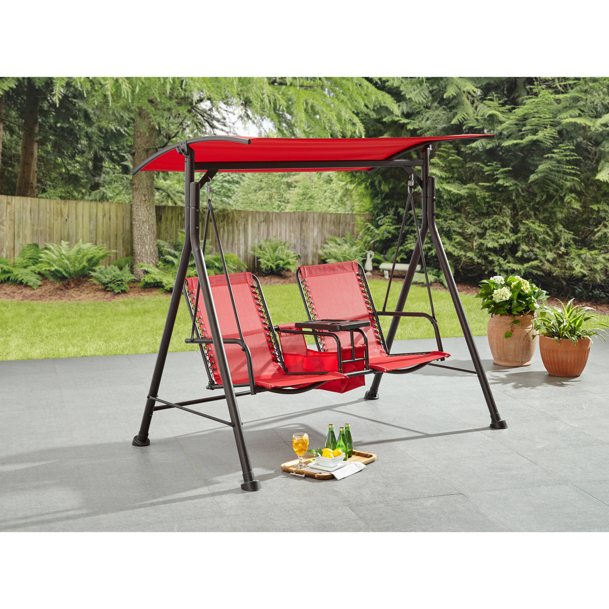 Trendy Mainstays Big And Tall 2 Person Bungee Canopy Porch Swing In Outdoor Pvc Coated Polyester Porch Swings With Stand (View 15 of 30)