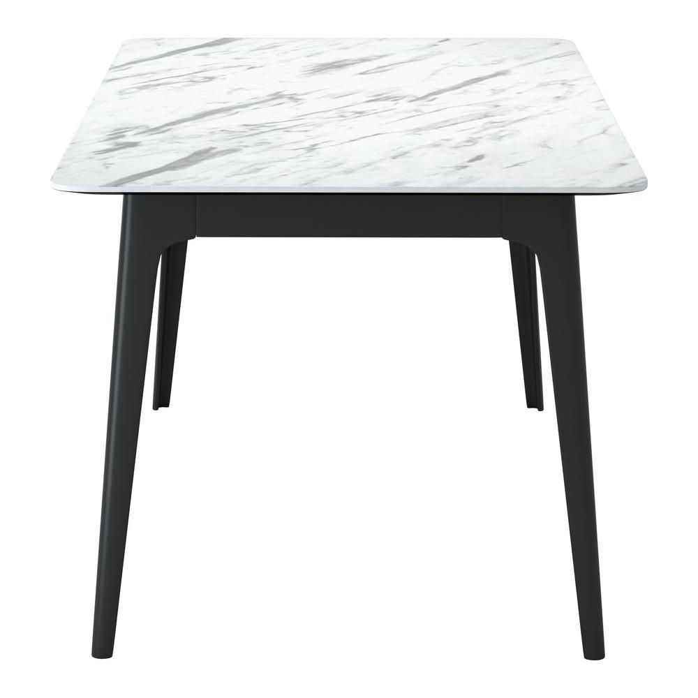 Trendy Modern Glass Top Extension Dining Tables In Matte Black Regarding Zuo Caden Stone And Black Dining Table 101257 – The Home Depot (View 29 of 30)