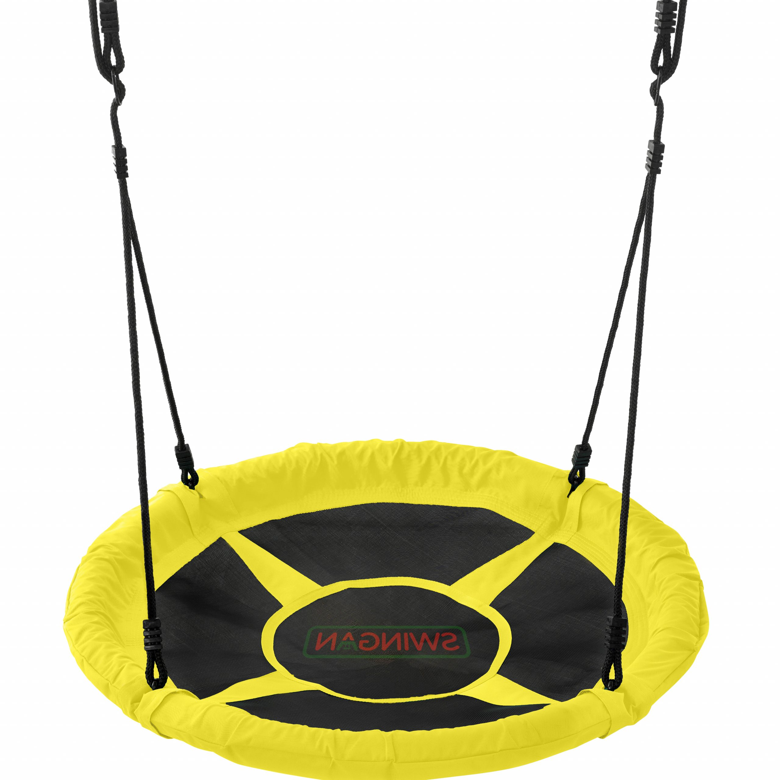 Trendy Nest Swings With Adjustable Ropes Within Swingan – 37.5 Super Fun Nest Swing With Adjustable Ropes – Solid Fabric  Seat Design – Yellow (Gallery 14 of 30)