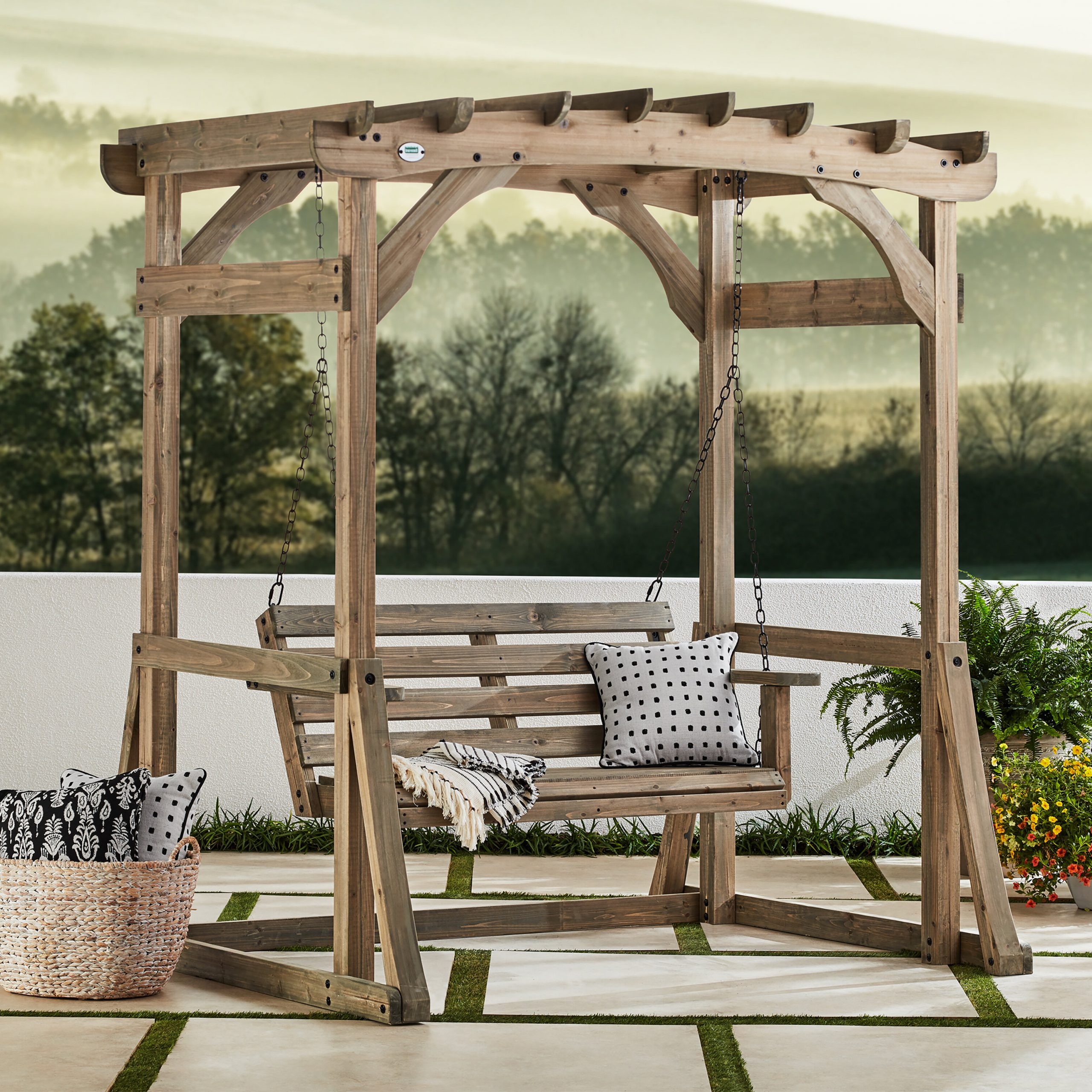 Trendy Odessa Pergola Porch Swing With Stand Within Pergola Porch Swings With Stand (View 10 of 30)