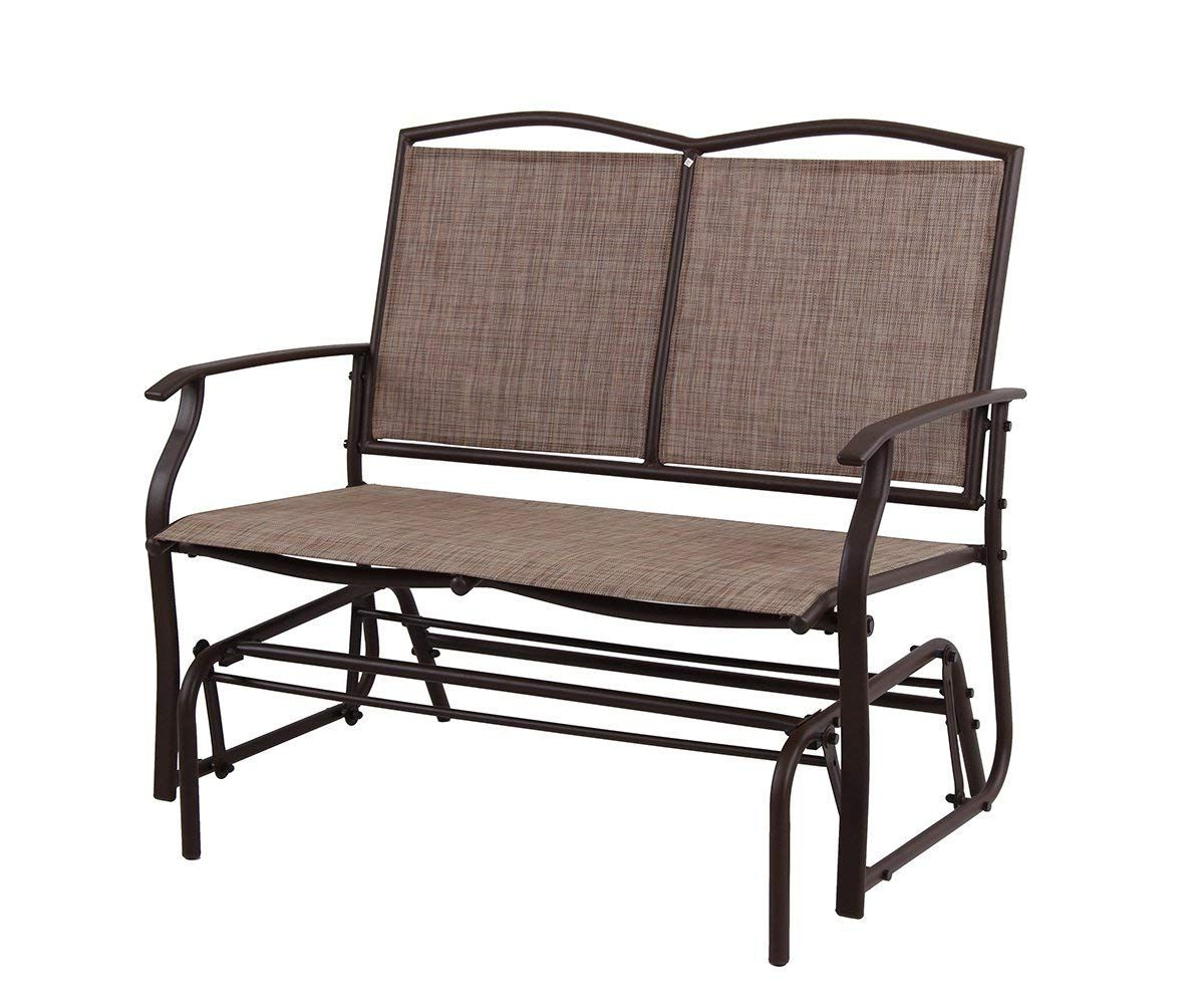 Trendy Outdoor Fabric Glider Benches Intended For Patio Swing Glider Bench For 2 Persons Rocking Chair, Garden (View 3 of 30)