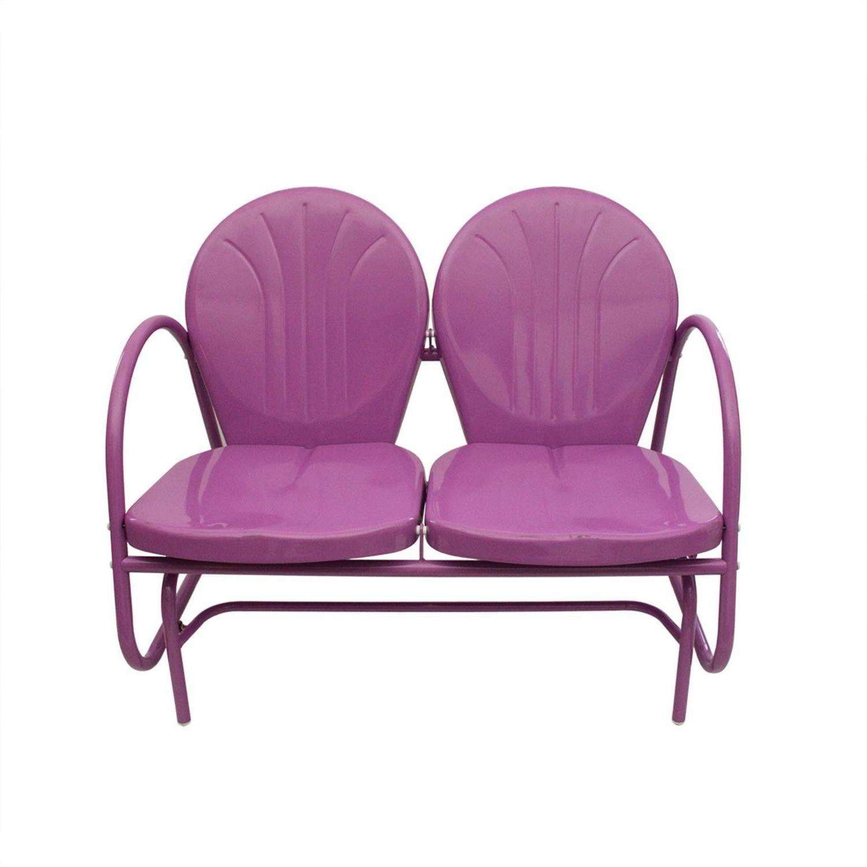 Trendy Outdoor Retro Metal Double Glider Benches With Retro Metal Purple Tulip Double Glider Chair (View 12 of 30)