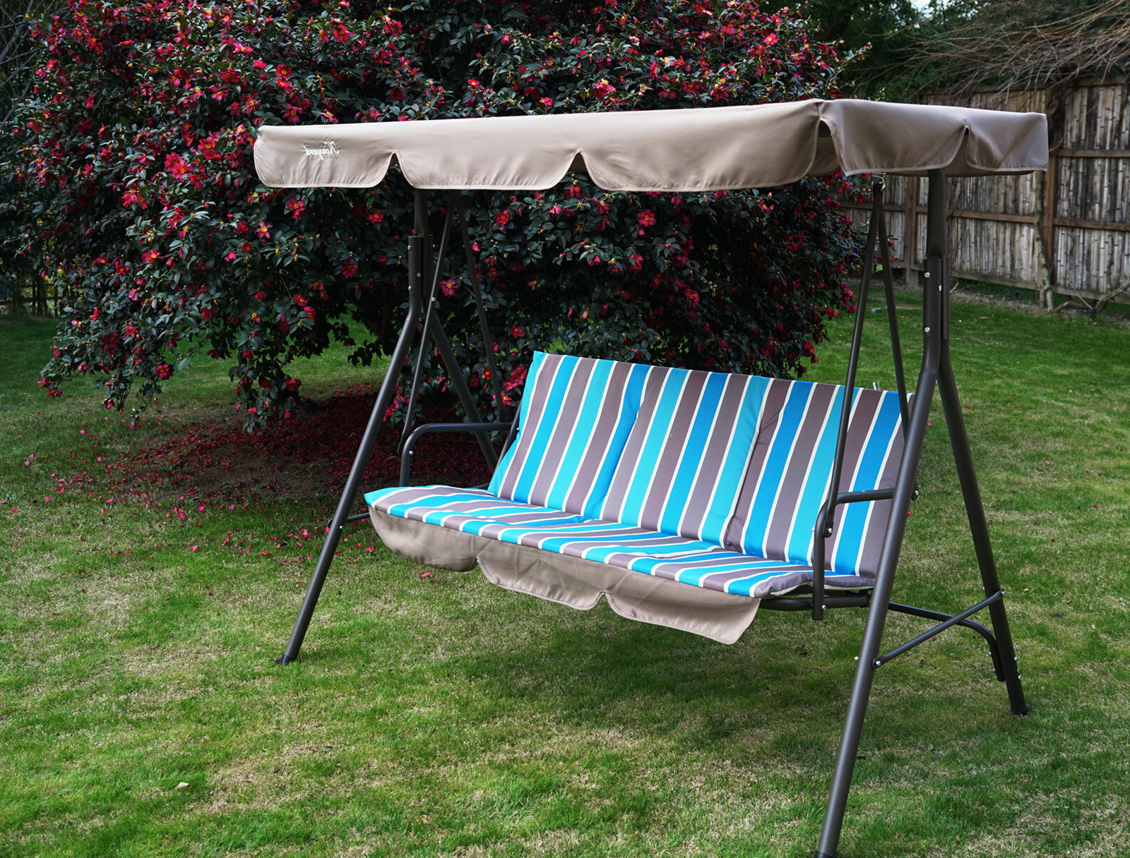Trendy Outdoor Swing Glider Chairs With Powder Coated Steel Frame With Regard To Alicia Patio Swing Chair With 3 Comfortable Cushion Seats And Strong  Weather Resistant Powder Coated Steel Frame (Colour: Red Stripe) (Gallery 8 of 30)