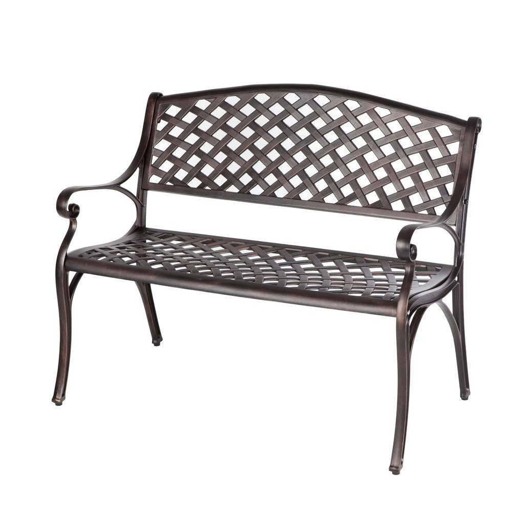 Trendy Patio Sense Antique Bronze Cast Aluminum Patio Bench Inside 1 Person Antique Black Steel Outdoor Gliders (Gallery 10 of 30)