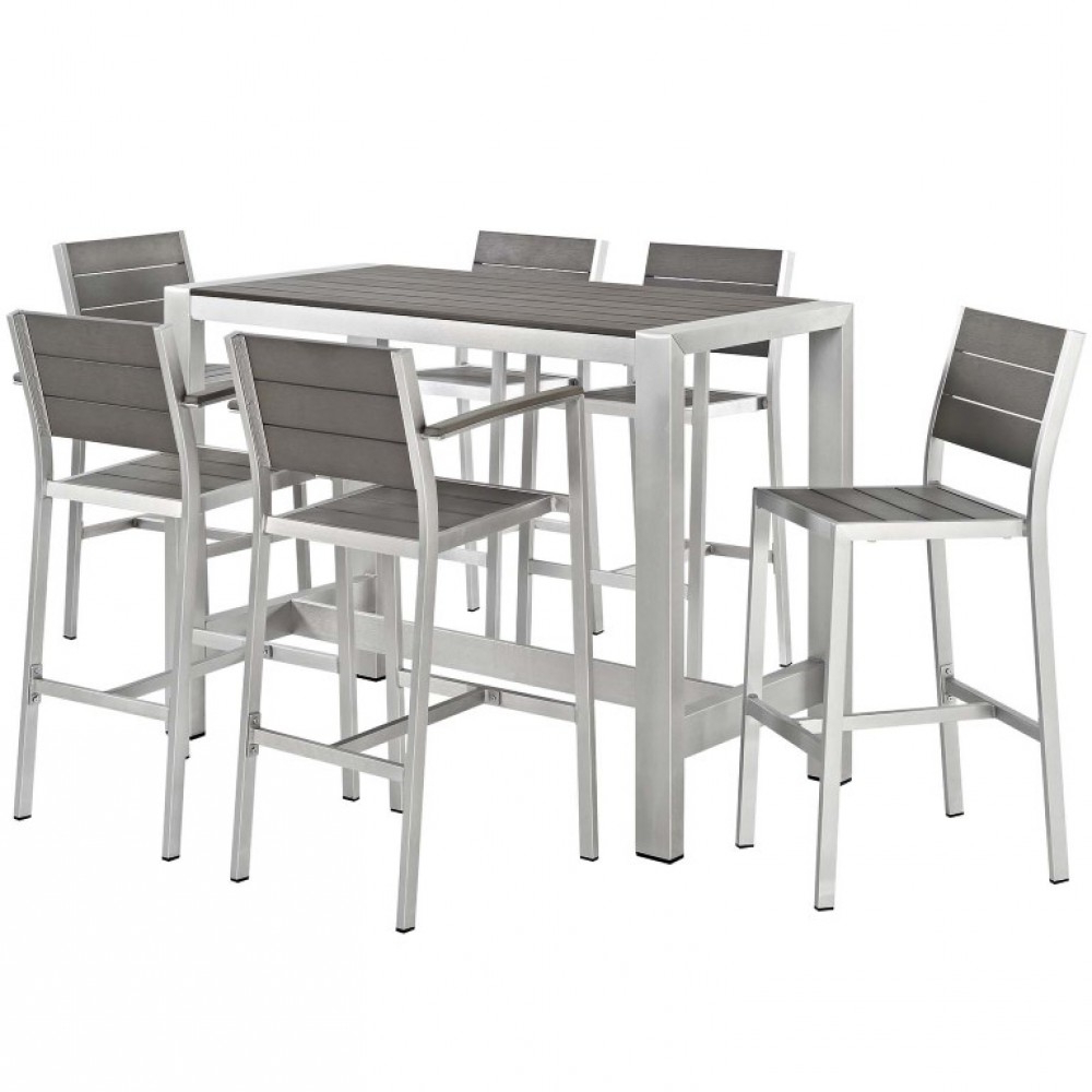Trendy Patio Square Bar Dining Tables Intended For Modway Shore Aluminum Outdoor Patio Square Bar Table In (View 29 of 30)
