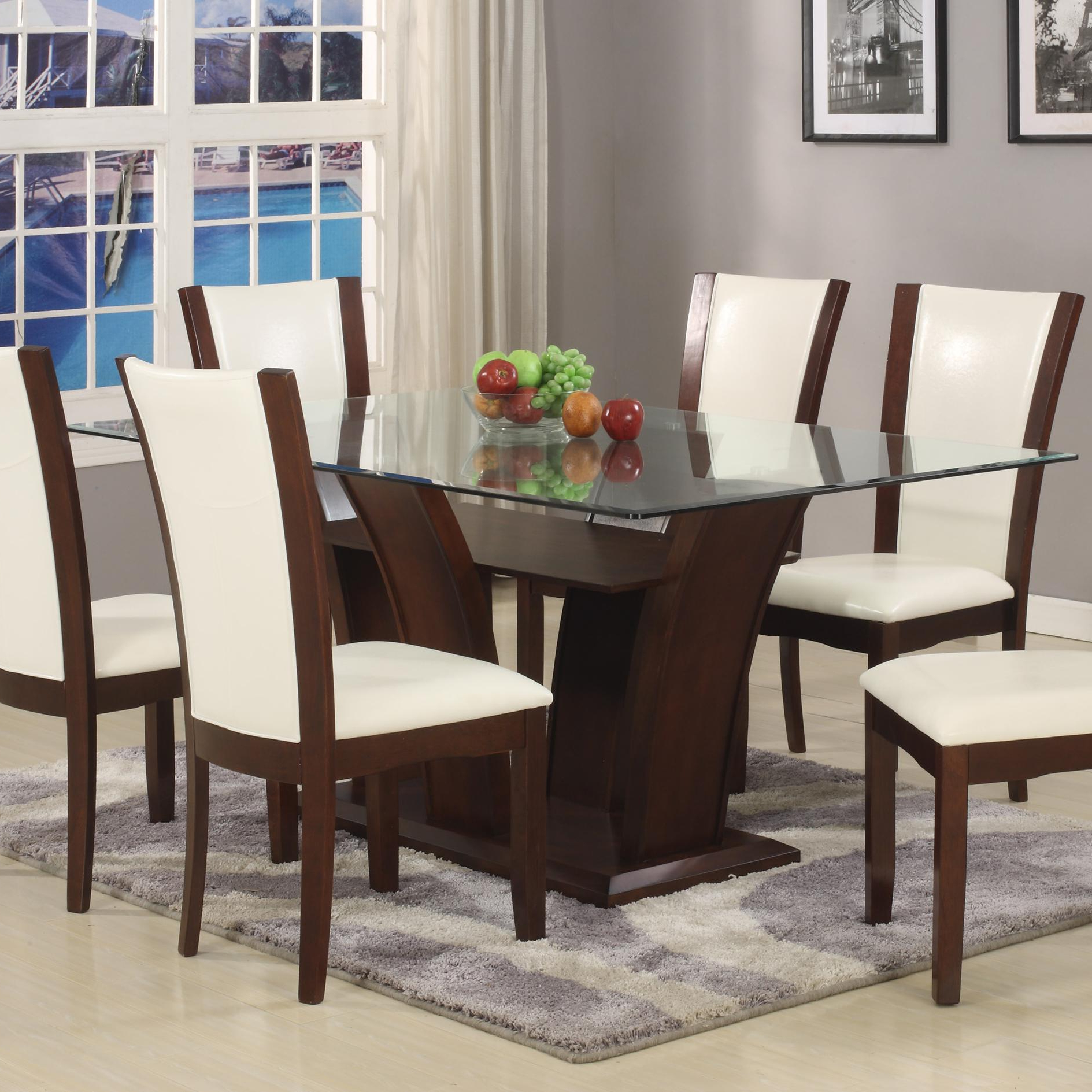 Trendy Rectangular Glass Top Dining Tables Pertaining To Camelia White Dining Table (View 3 of 30)