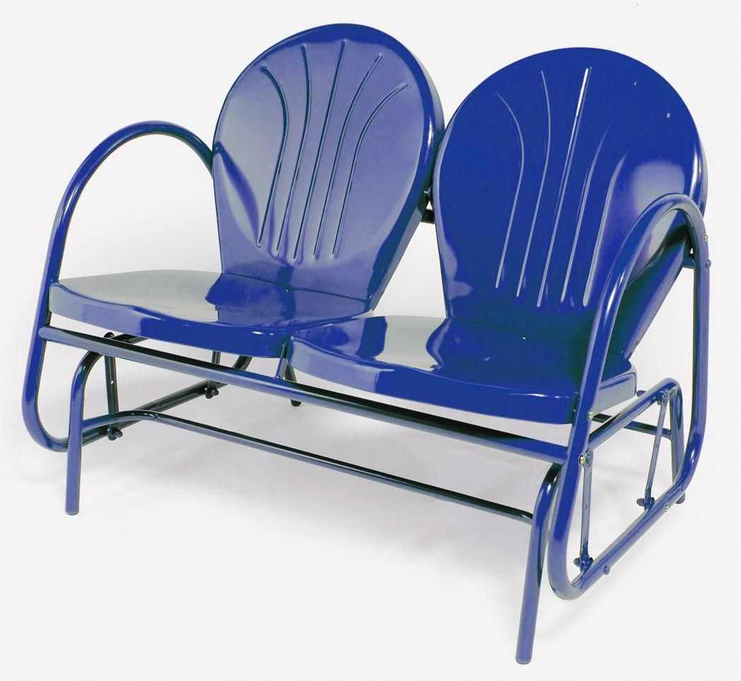 Trendy Retro Metal Double Glider Outdoor Lawn Patio Chair Blue New Intended For Outdoor Retro Metal Double Glider Benches (Gallery 3 of 30)