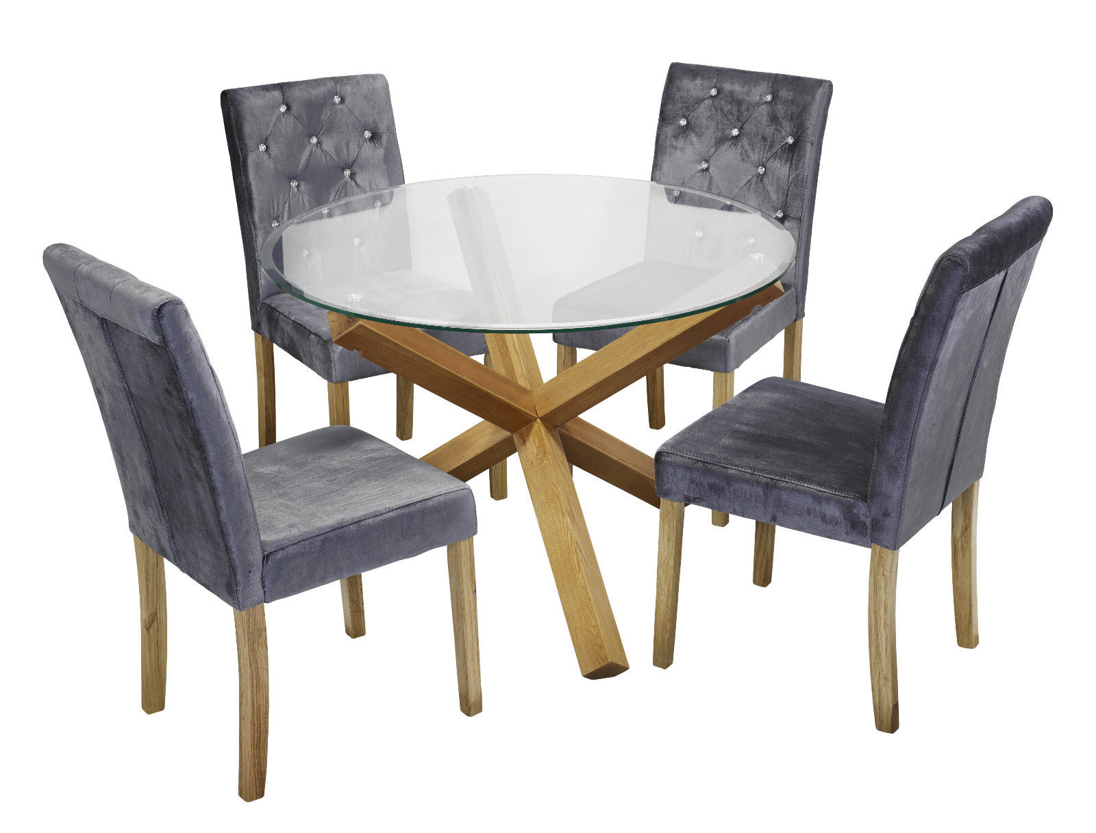 Trendy Round Dining Tables With Glass Top Pertaining To Details About Trend Solid Oak Round Glass Top Dining Table & 4 Amour Silver  Fabric Chair Set (Gallery 12 of 30)
