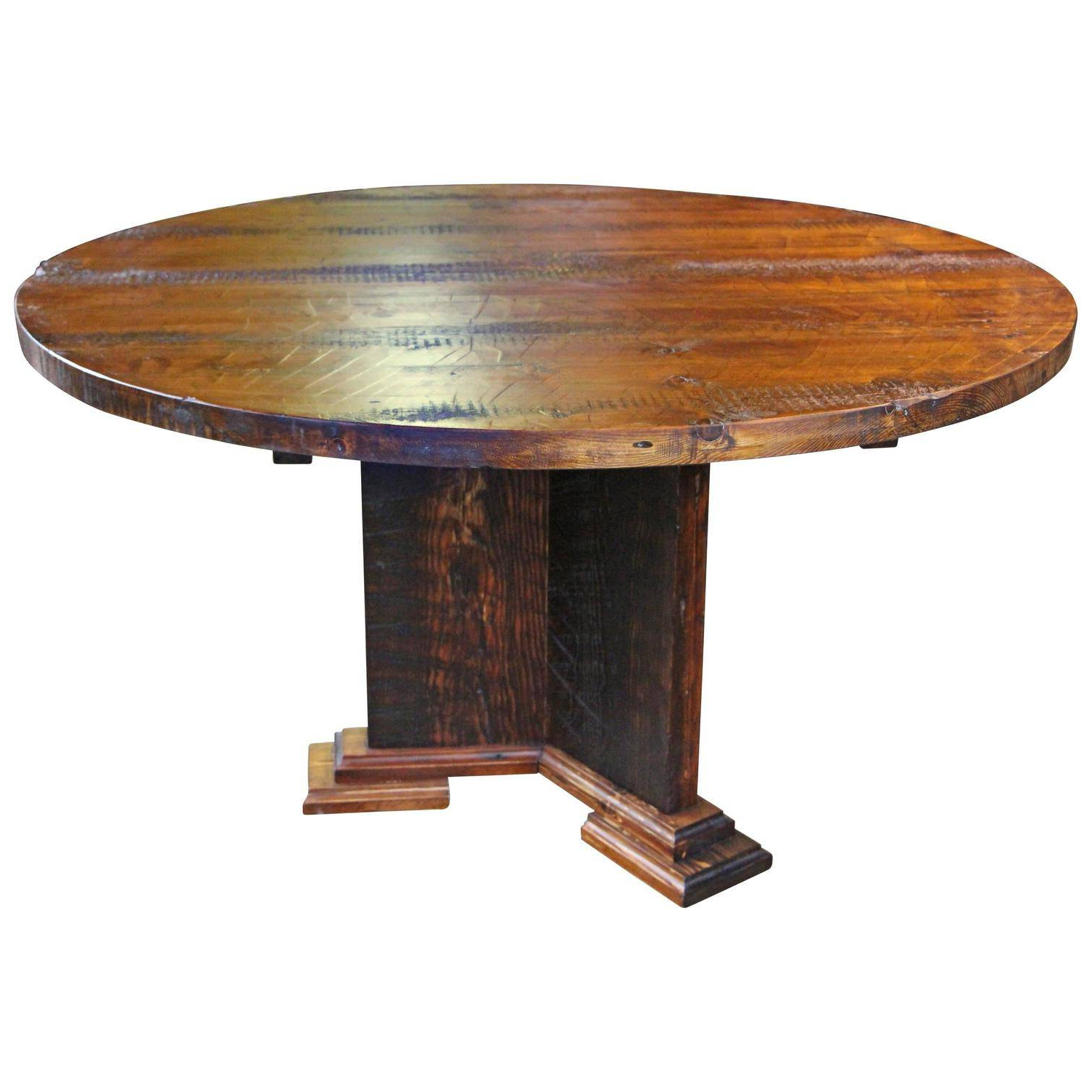 Trendy Rustic Pine Small Dining Tables Inside Pretty Round Reclaimed Wood Semi Rustic Pine Dining Table (Gallery 11 of 30)