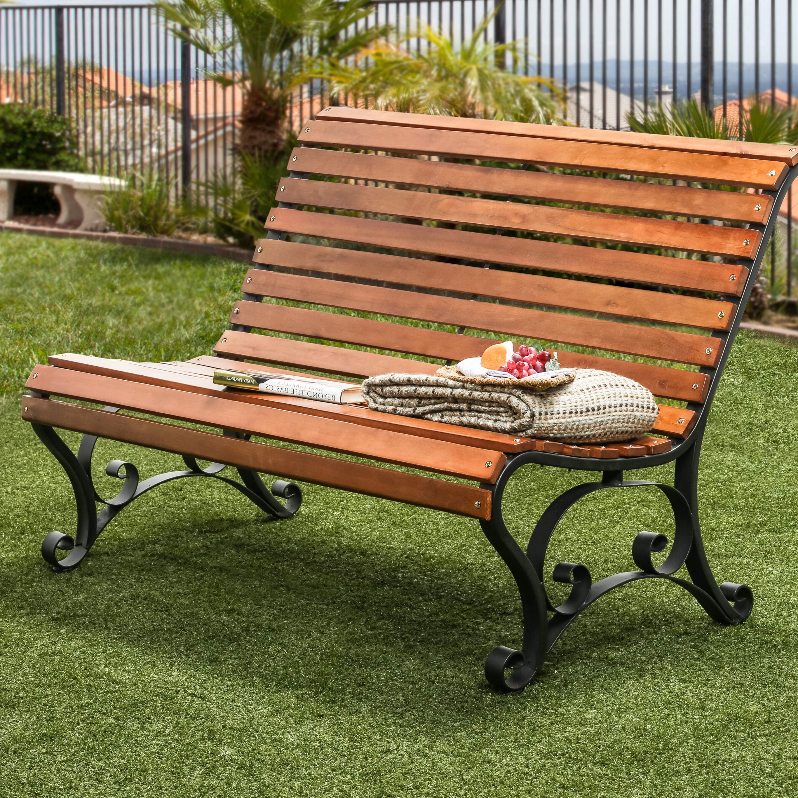 Trendy Simply Slatted Outdoor Iron Park Bench Within Iron Grove Slatted Glider Benches (View 2 of 30)