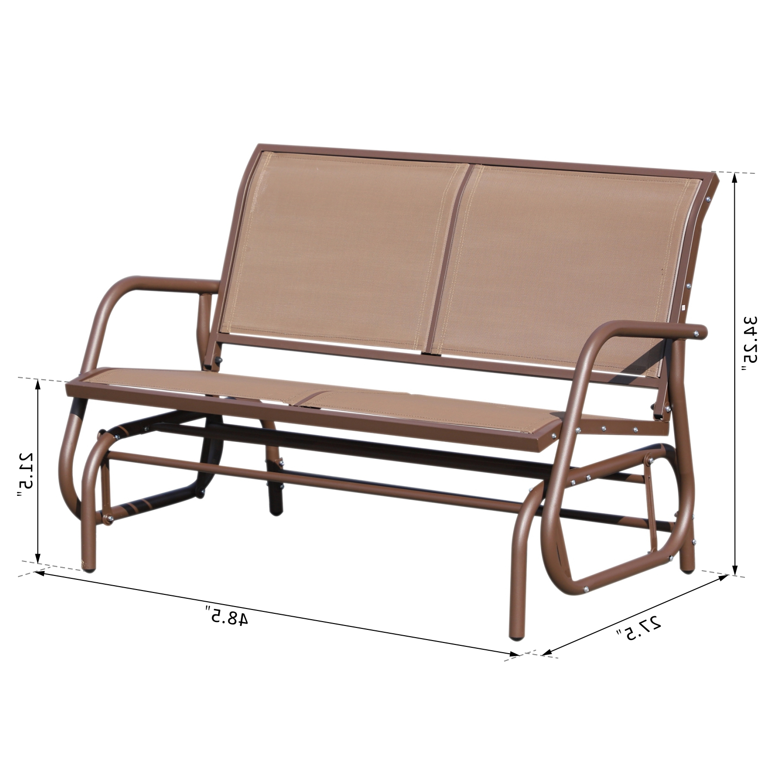 Trendy Sling Double Glider Benches Regarding Outsunny Patio Double Glider Outdoor Steel Sling Fabric Bench Swing Chair R  Heavy Duty Porch Rocker Garden Loveseat Brown (Gallery 25 of 30)