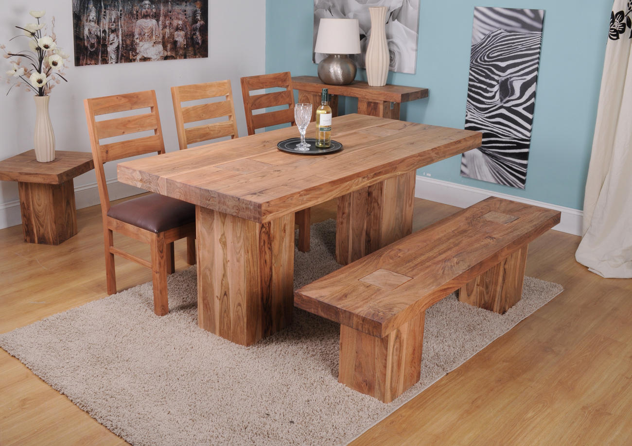 Trendy Small Solid Wood Dining Table Image : Gearon Hoffman Home Regarding Solid Acacia Wood Dining Tables (View 29 of 30)