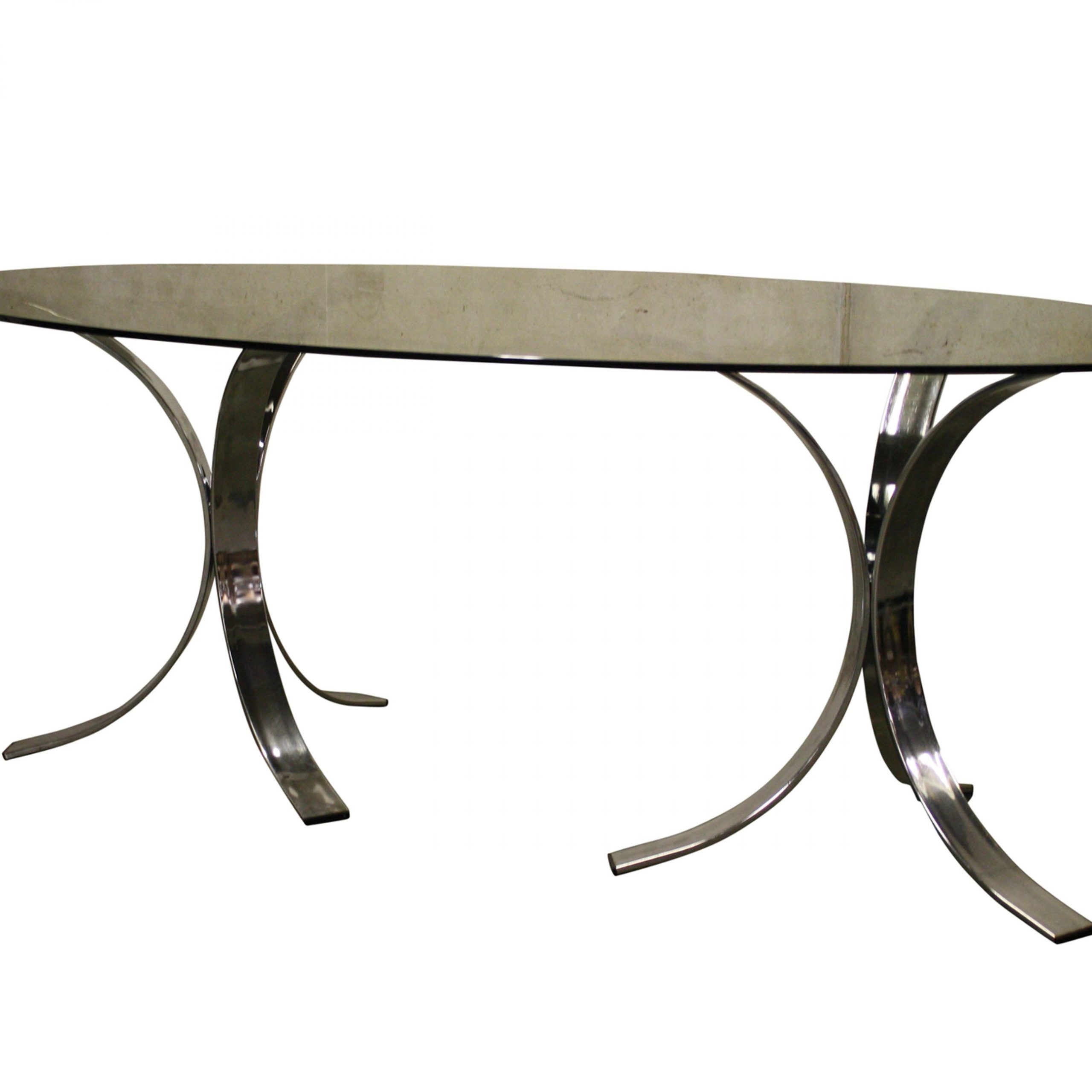 Trendy Smoked Oval Glasstop Dining Tables Inside Vintage Chrome Dining Table, 1970s (View 21 of 30)
