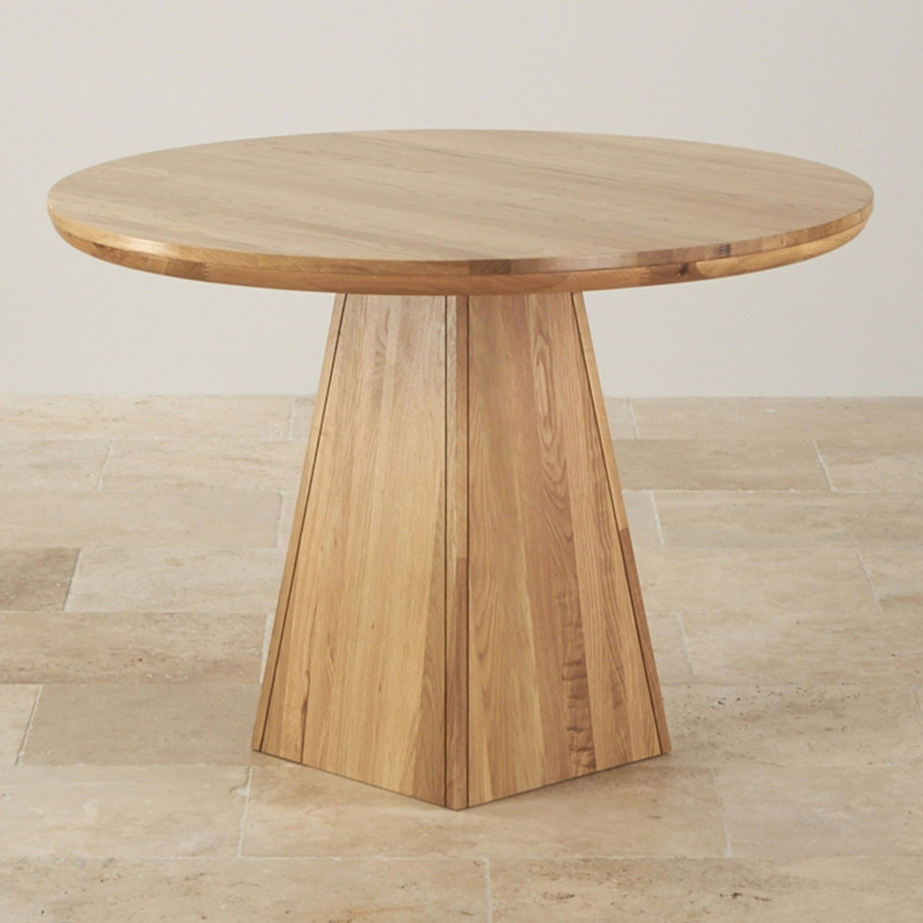 Trendy Solid Wood Circular Dining Tables White With Provence Natural Solid Oak Round Table With Pyramid Base (View 3 of 30)