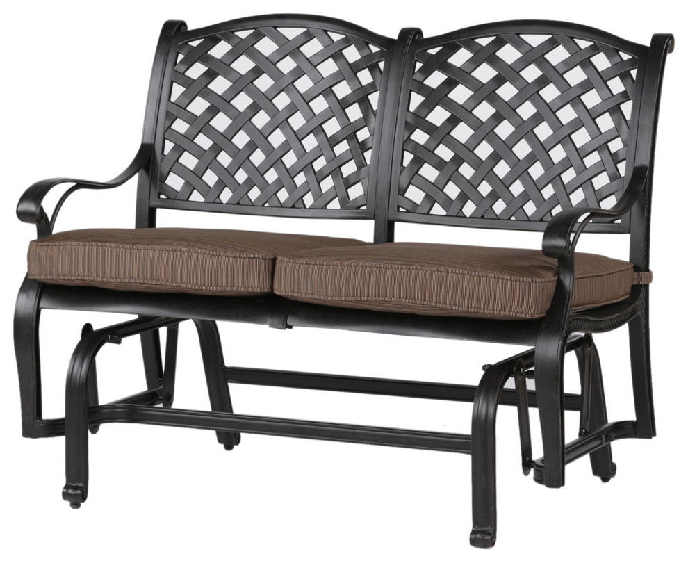 Trendy Speckled Glider Benches With Regard To Stinson Bench Glider With Cushion, Outdoor Metal Glider (View 12 of 30)