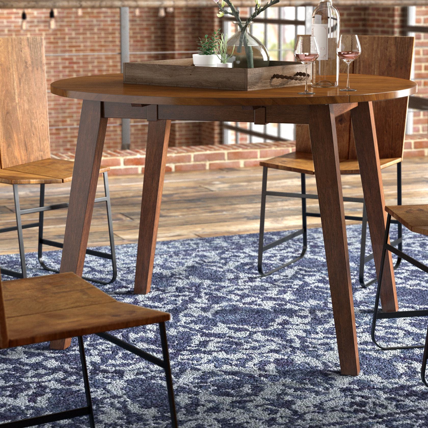 Trendy Transitional 4 Seating Double Drop Leaf Casual Dining Tables Intended For Trent Austin Design Caracara Round Dropleaf Extendable (Gallery 12 of 30)