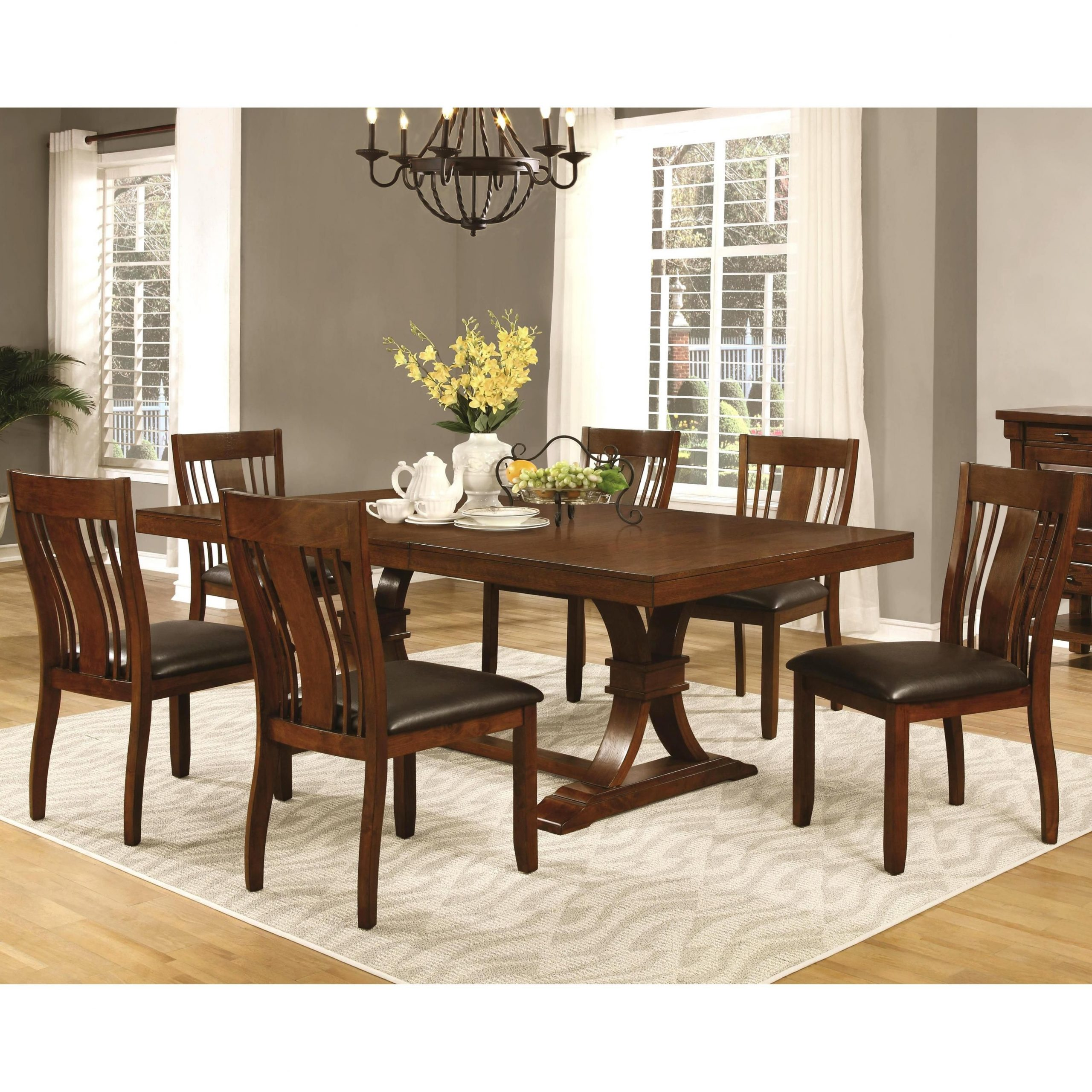 Trendy Transitional 6 Seating Casual Dining Tables With Oxford Transitional Mission Style Dining Set (1 Table, 6 (Gallery 1 of 30)