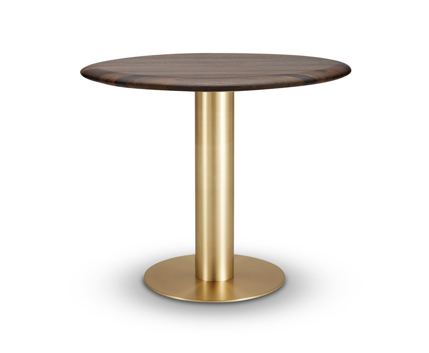 Trendy Tube Dining Table Brass Fumed Oak Top 900Mm Within Fumed Oak Dining Tables (Gallery 2 of 30)