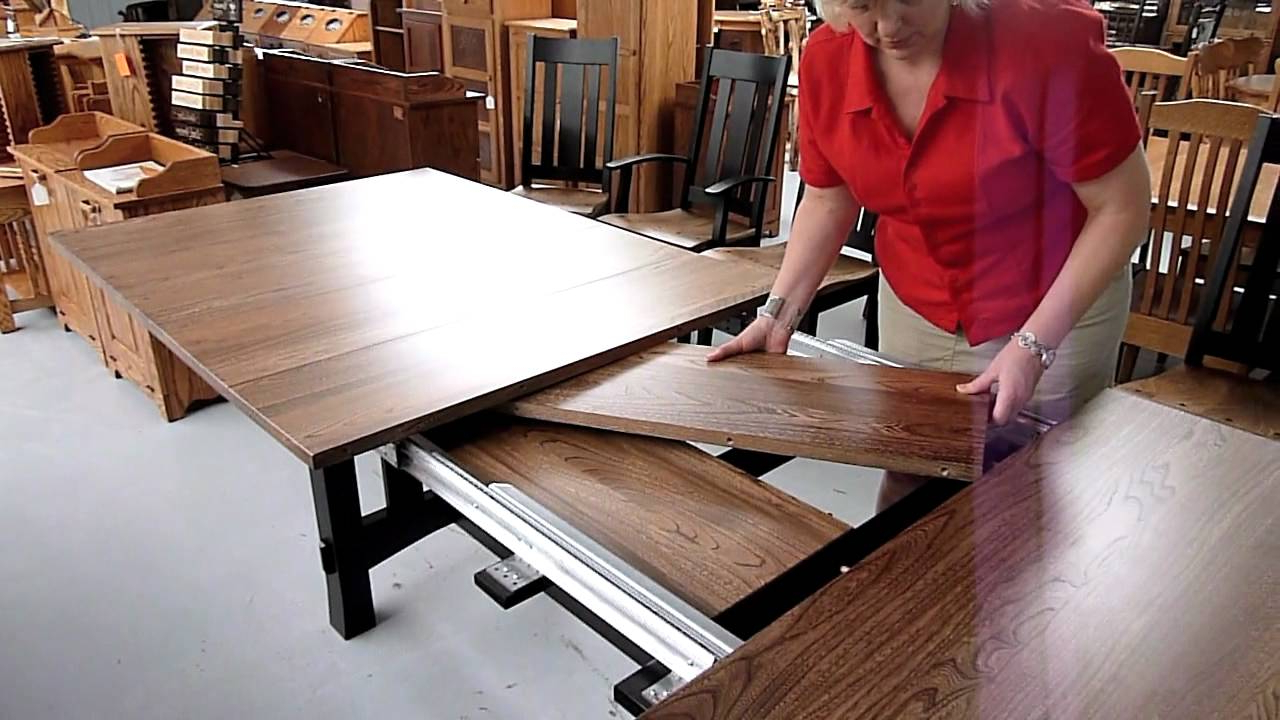 Trendy Wood Kitchen Dining Tables With Removable Center Leaf Throughout How Amish Dining Table Leaf Storage Works (Gallery 21 of 30)