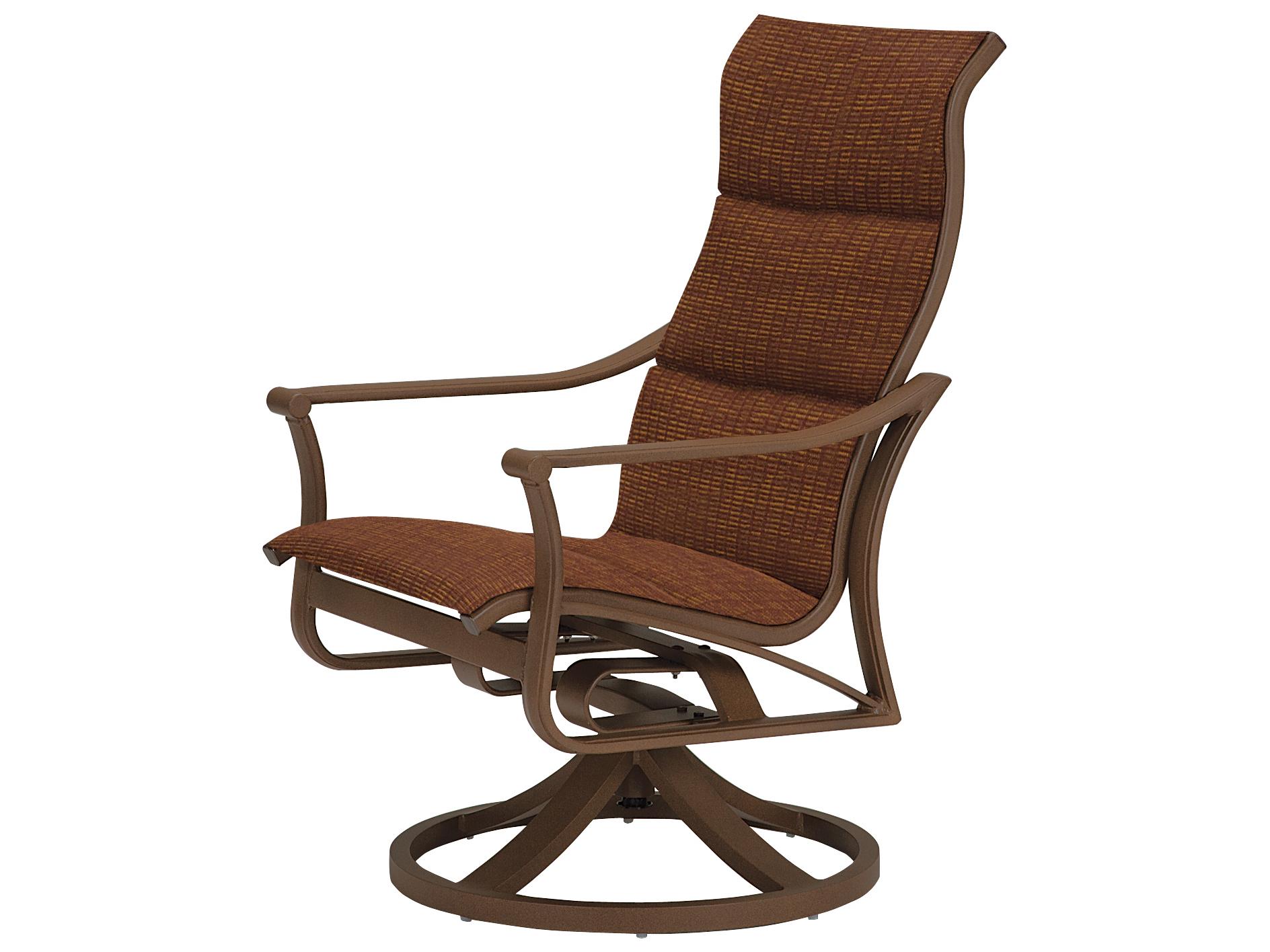 Tropitone Corsica Padded Sling Aluminum High Back Swivel Rocker Lounge Chair Pertaining To Most Popular Padded Sling High Back Swivel Chairs (Gallery 20 of 30)