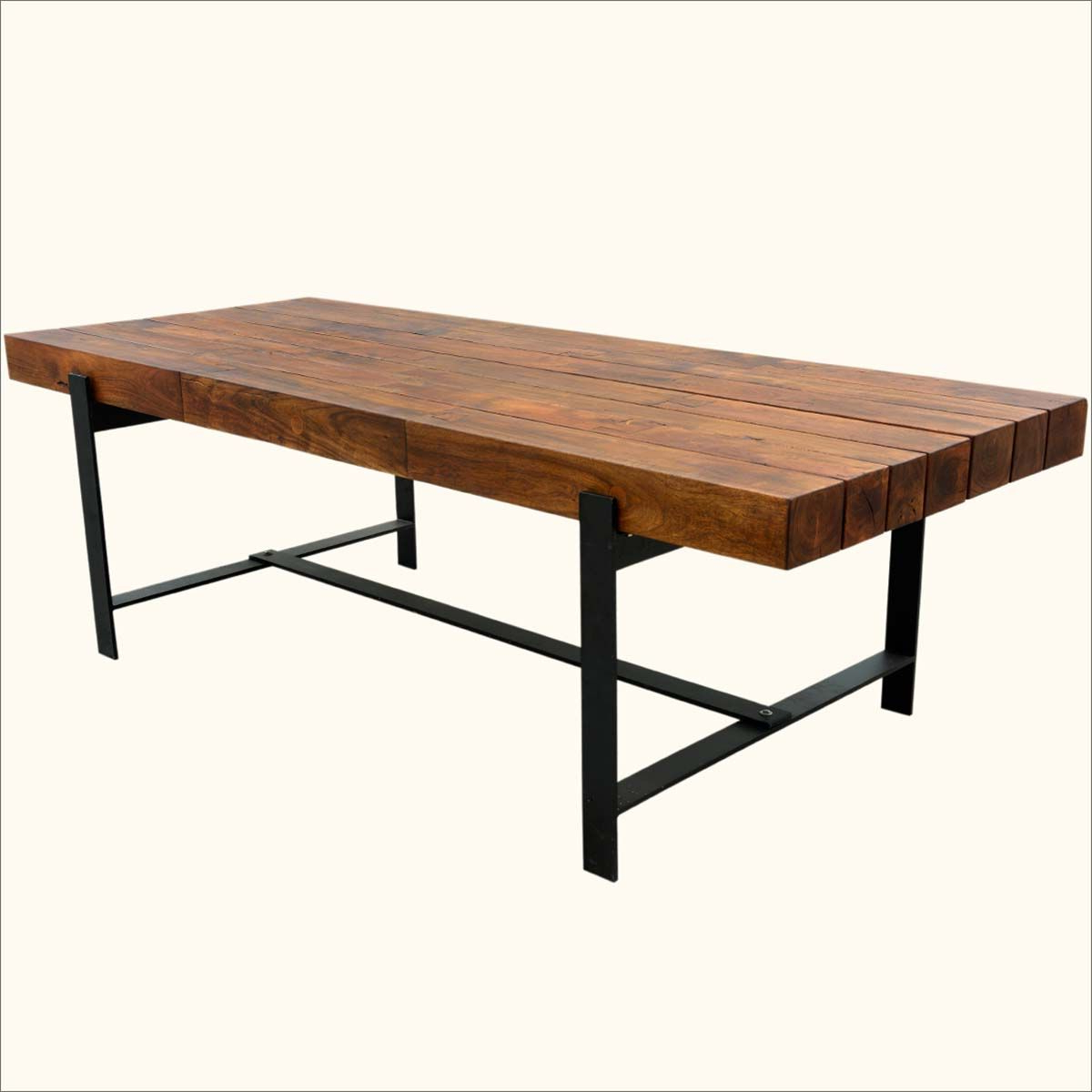 "Unique Acacia Wood Dining Tables In Favorite Industrial Iron & Acacia Wood 94"" Large Rustic Dining Table (Gallery 4 of 30)"