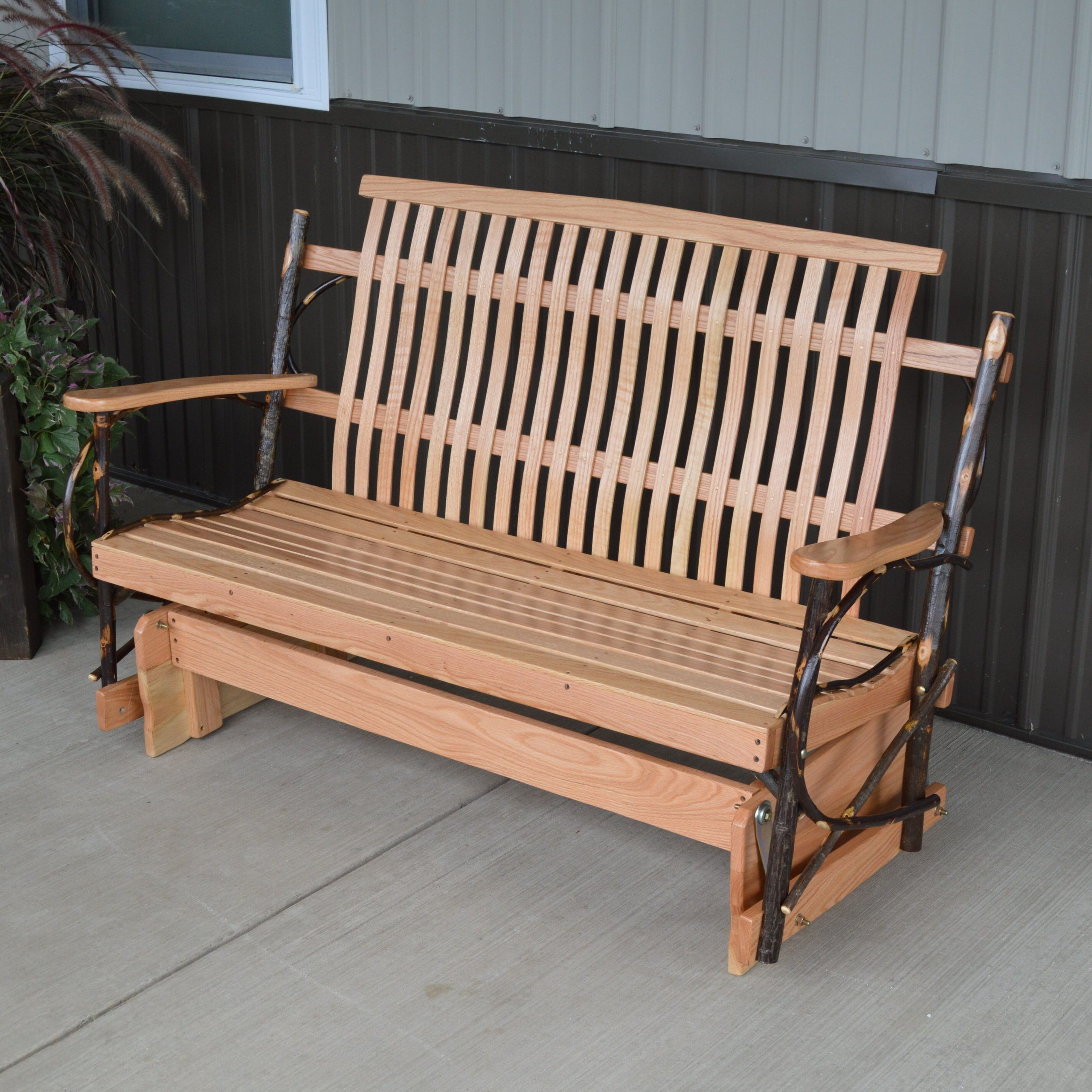 Valeria Hickory Porch Glider Bench For 2019 Iron Grove Slatted Glider Benches (Gallery 14 of 30)