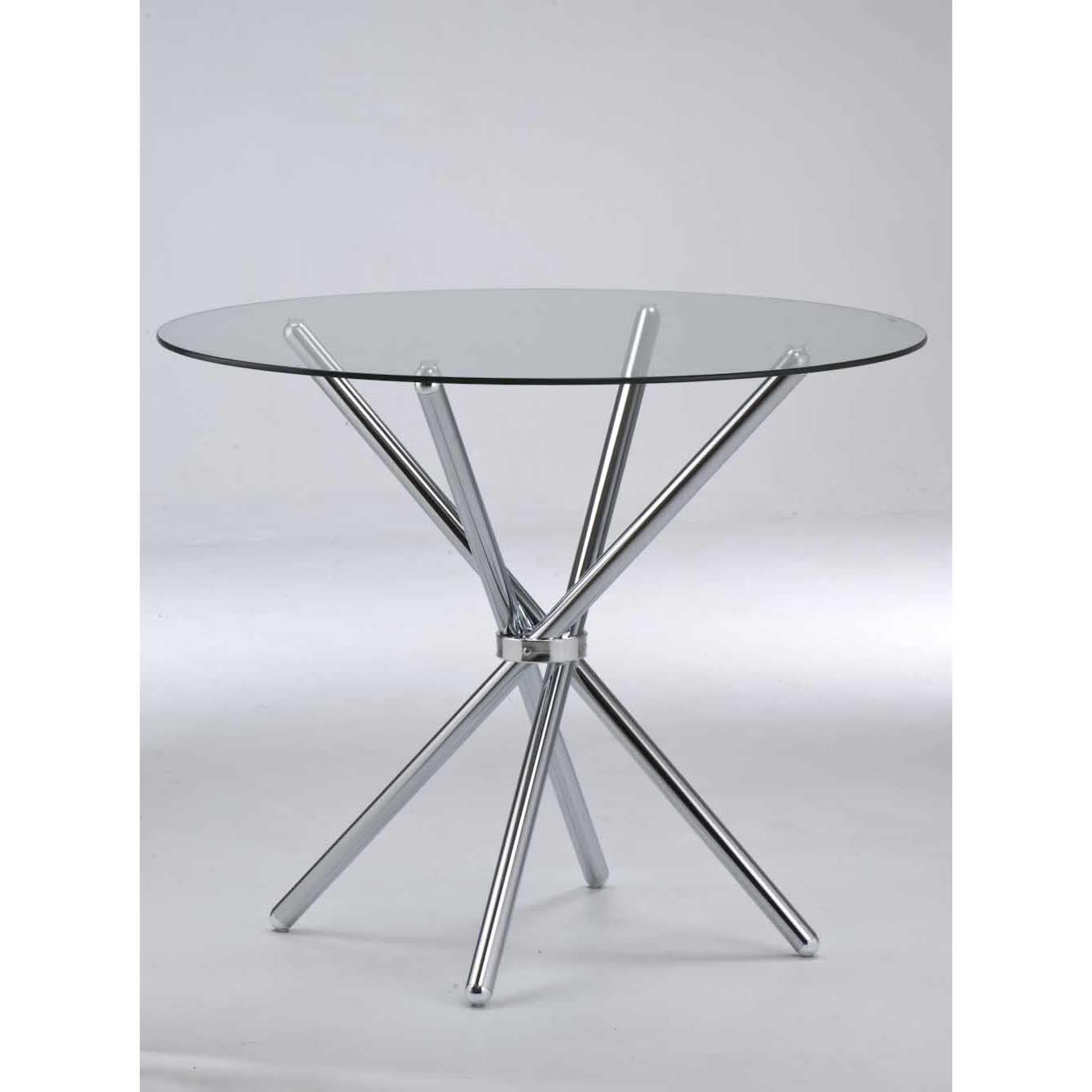 Verona Round Dining Table Clear Tempered Glass/chrome Legs Intended For Latest Chrome Dining Tables With Tempered Glass (Gallery 1 of 30)