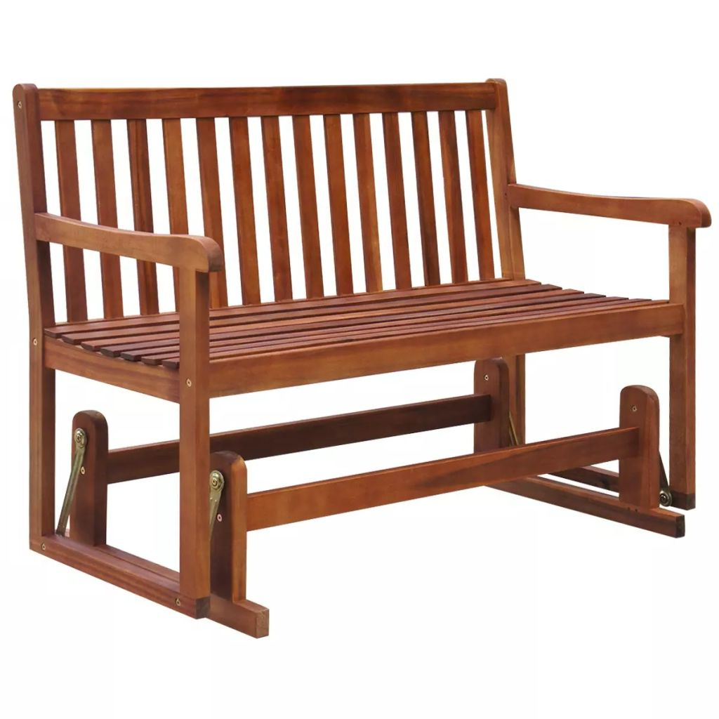 Vidaxl Porch Glider/garden Swing Bench Acacia Wood In Patio With Popular Hardwood Porch Glider Benches (View 9 of 30)