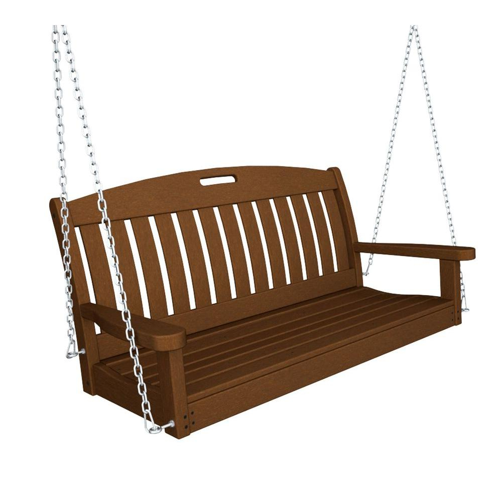 Vineyard 2 Person Black Recycled Plastic Outdoor Swings Inside Best And Newest Polywood Nautical 48 In. Teak Plastic Outdoor Porch Swing (Gallery 6 of 30)