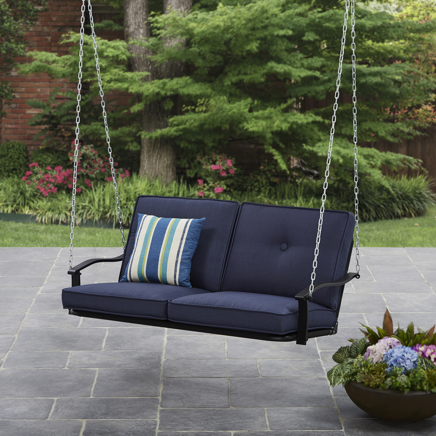 Vineyard 2 Person Black Recycled Plastic Outdoor Swings Inside Famous Mainstays Belden Park Outdoor Porch Swing With Cushion (View 30 of 30)
